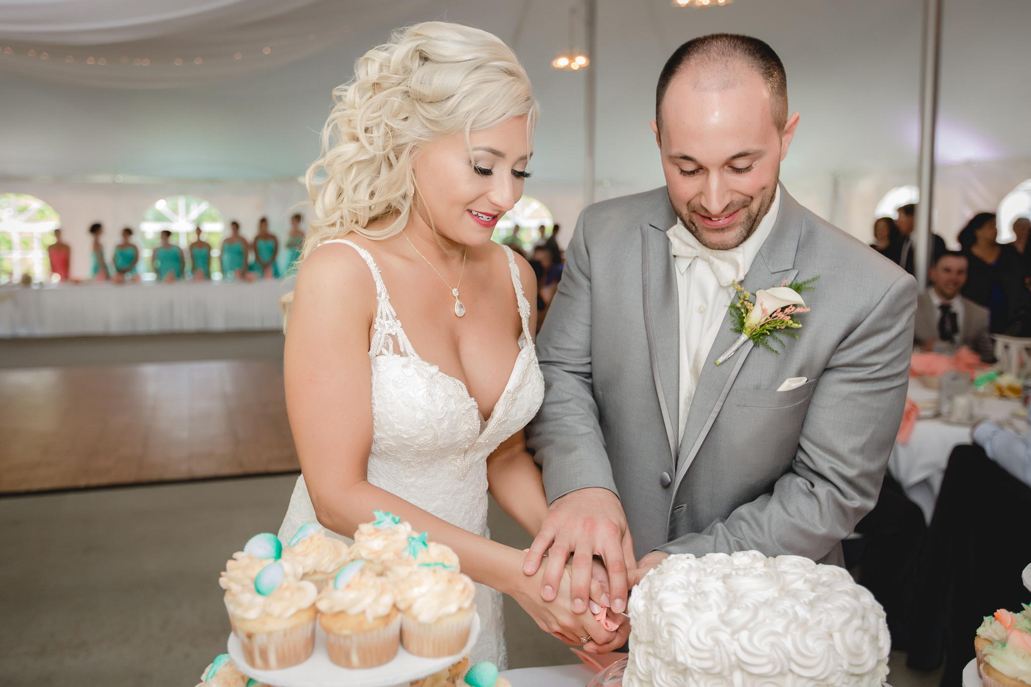 Bride and groom cut the cake at Linden Hall