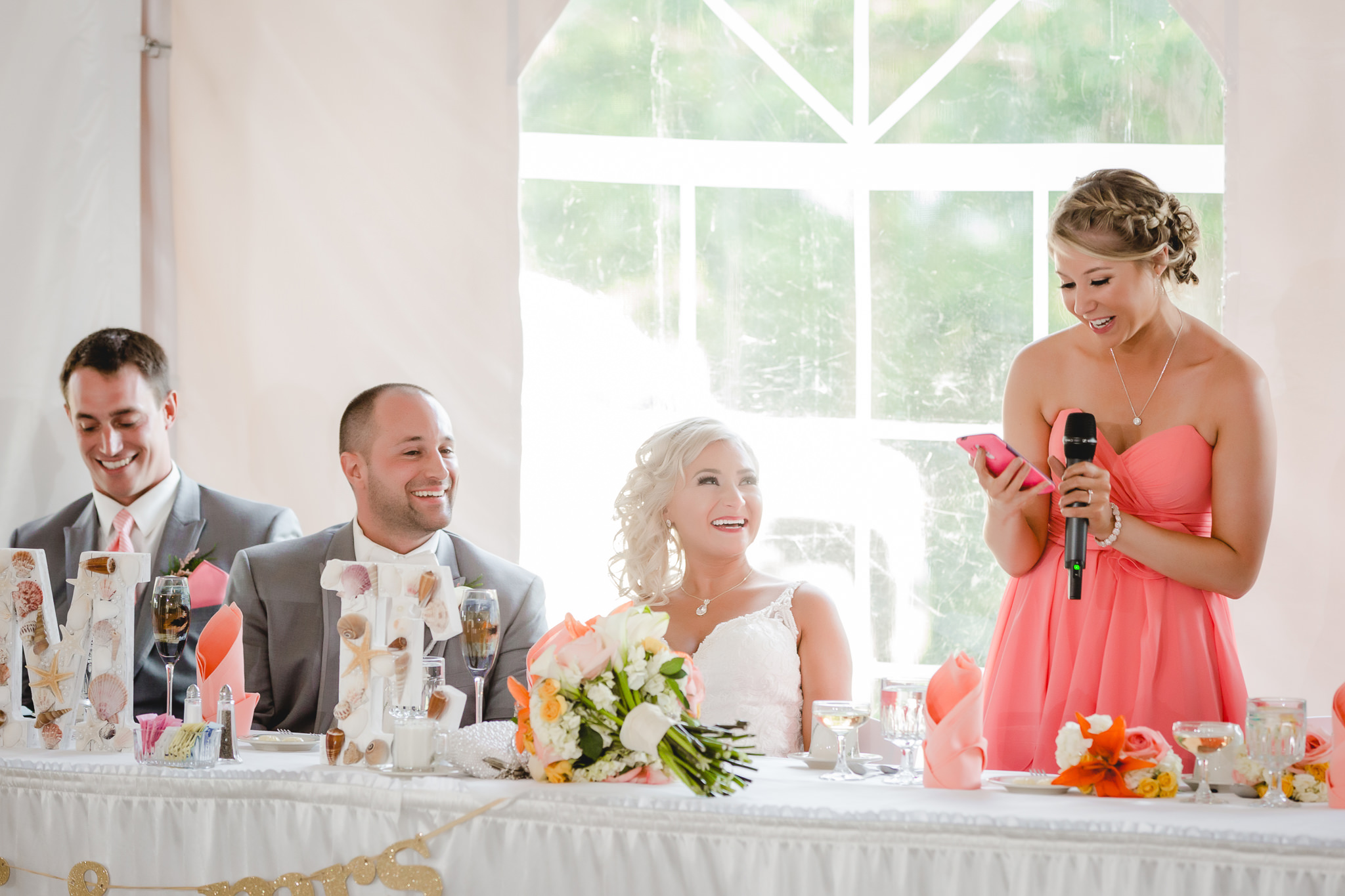 Maid of honor gives a speech at Linden Hall