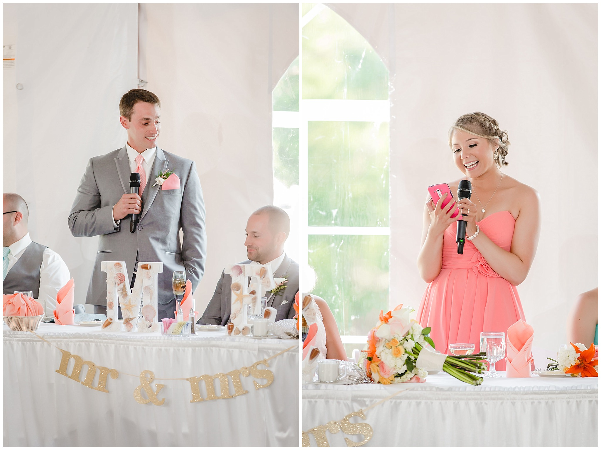 Best man and maid of honor toast the bride and groom