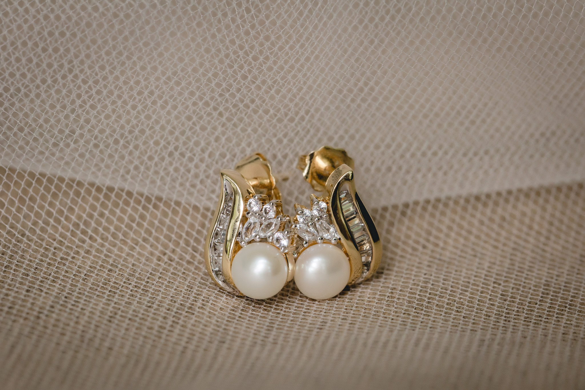 Bride's pearl earrings for her Shannopin Country Club wedding