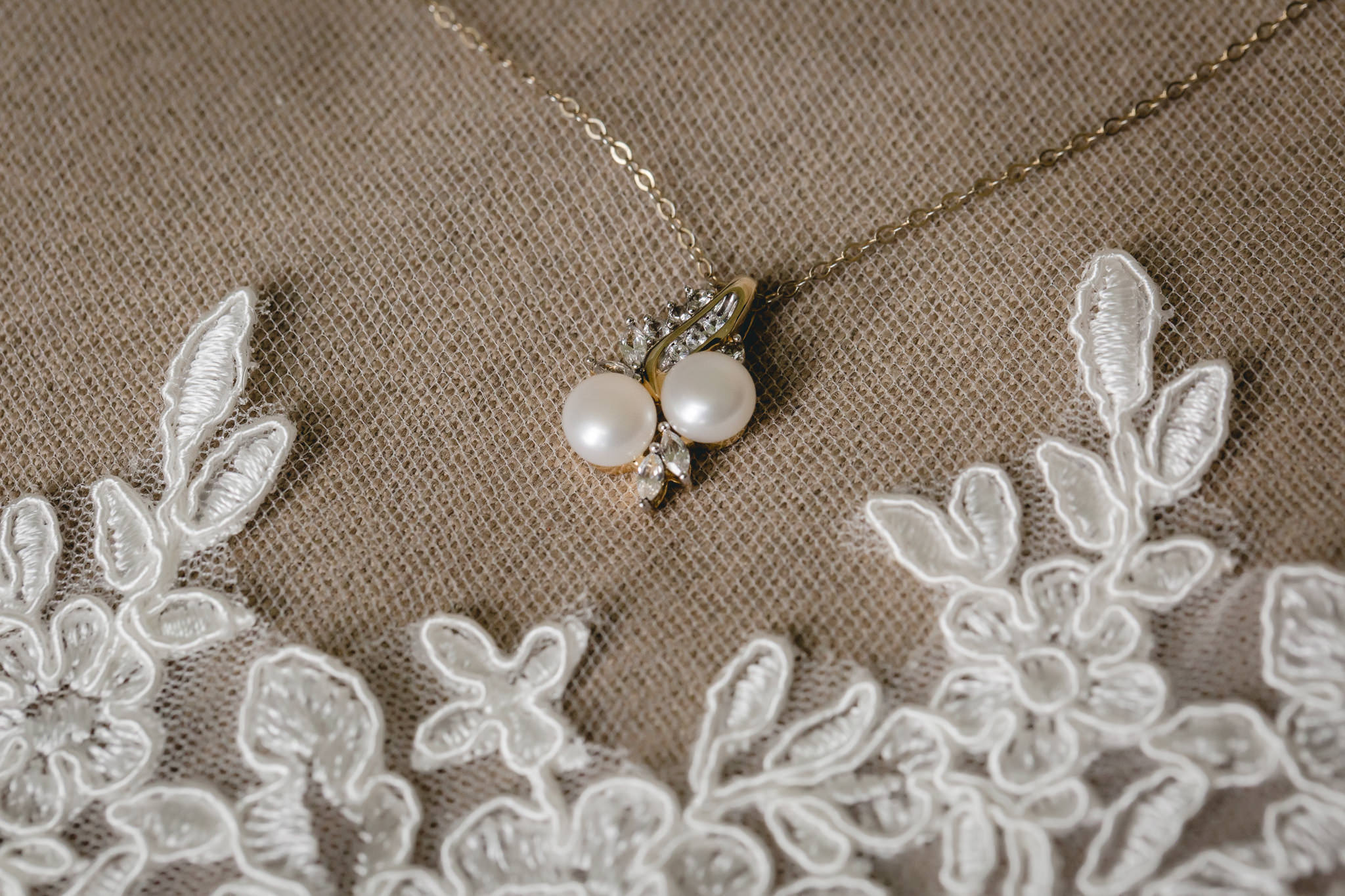Bride's pearl necklace for her Shannopin Country Club