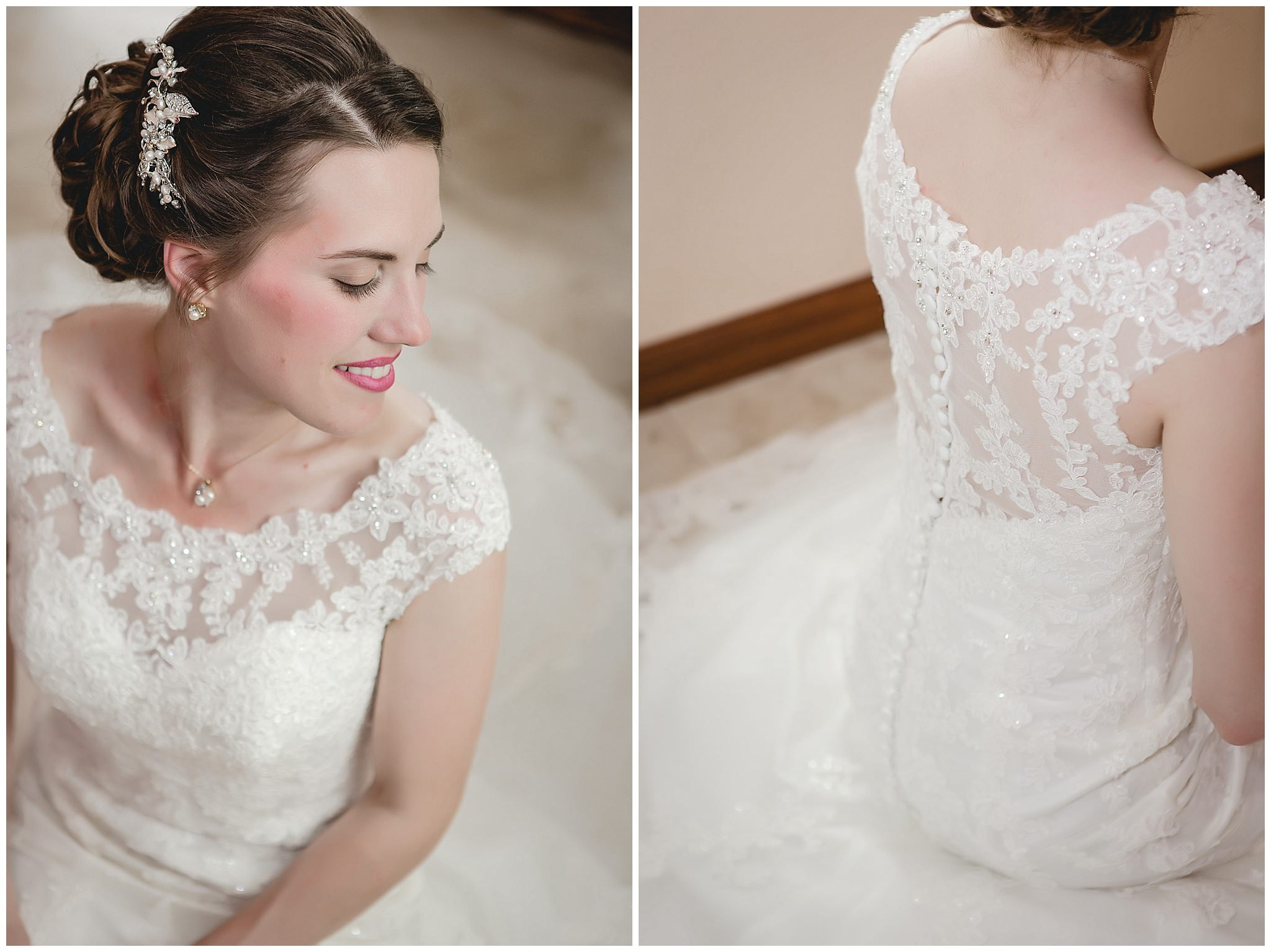 Bride in classic lace gown before wedding at Shannopin Country Club