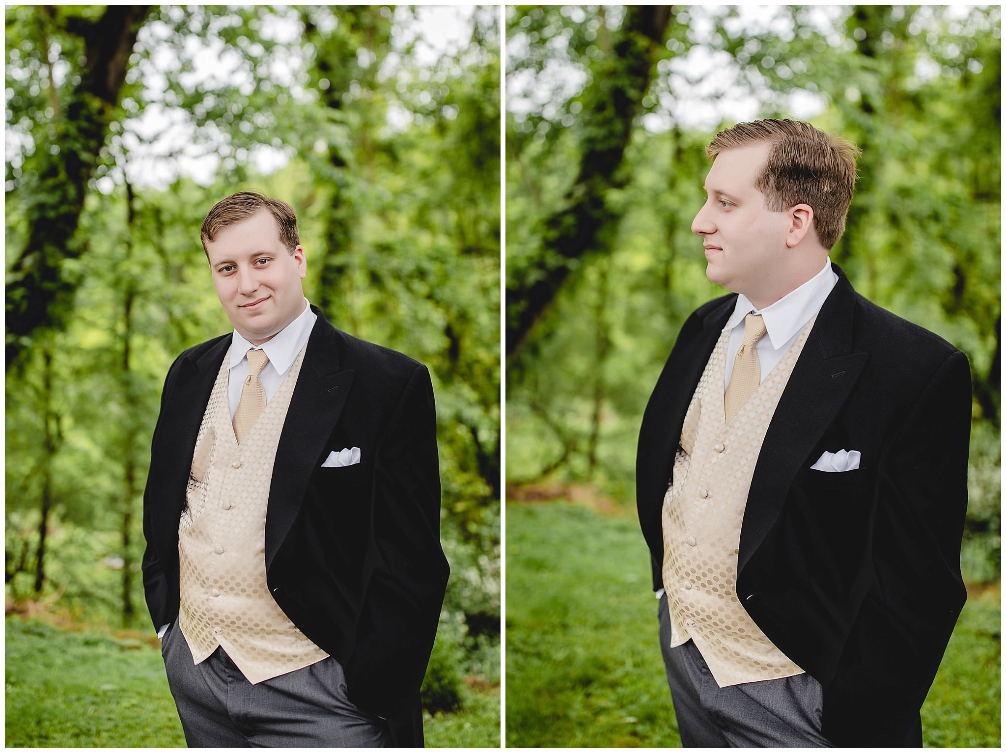 Groom portrait in tuxedo with yellow vest and tie