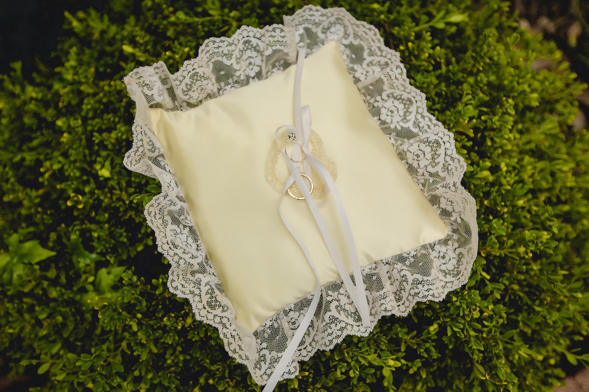 Ring bearer's pillow at St. John Neumann Church wedding ceremony