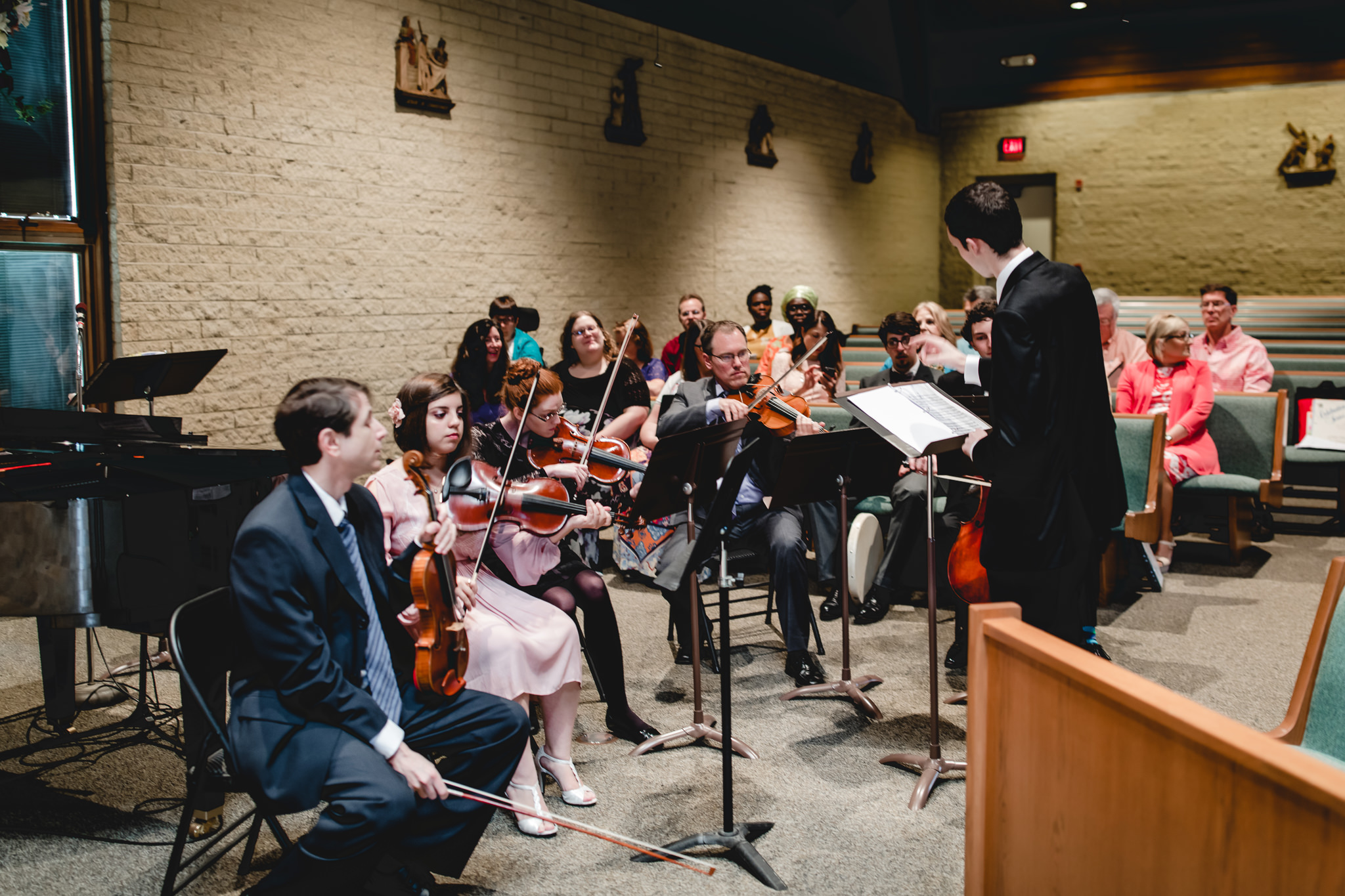 Orchestra and choir perform at wedding ceremony in St. John Neumann Church in Pittsburgh PA