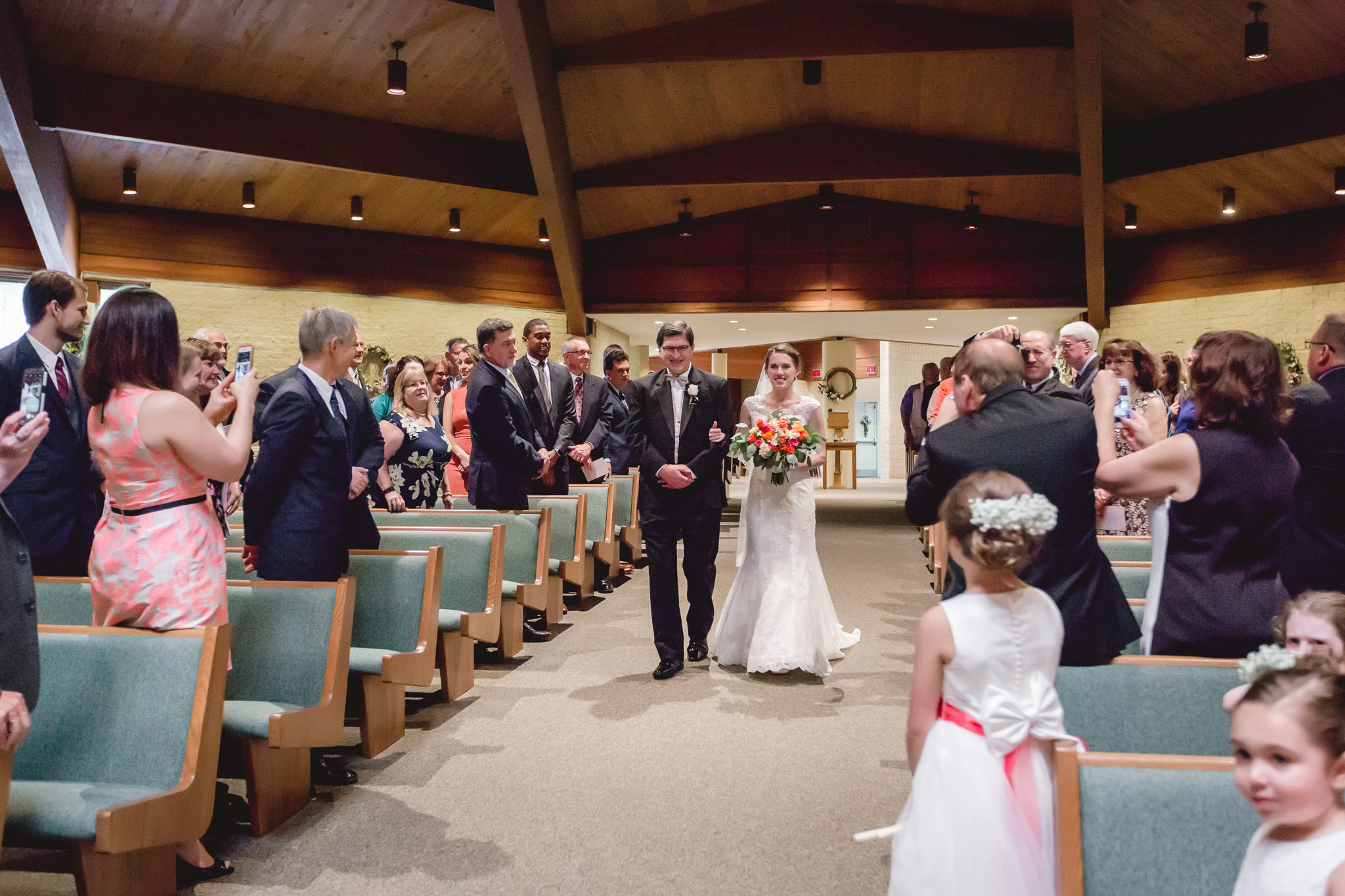 Father of the bride walks bride down the aisle at St. John Neumann Church in Pittsburgh PA