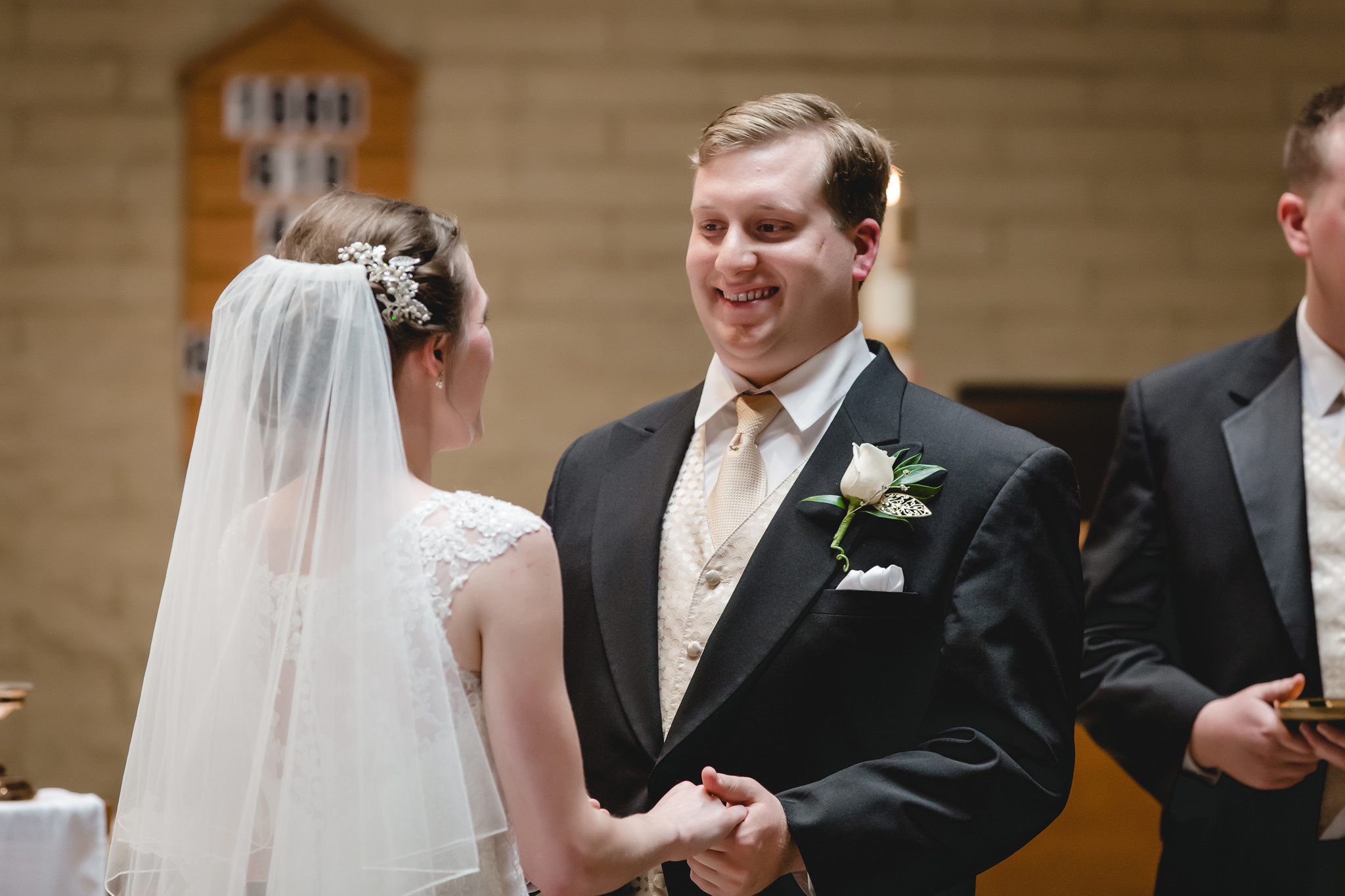 Groom says his vows at St. John Neumann Church in Pittsburgh PA