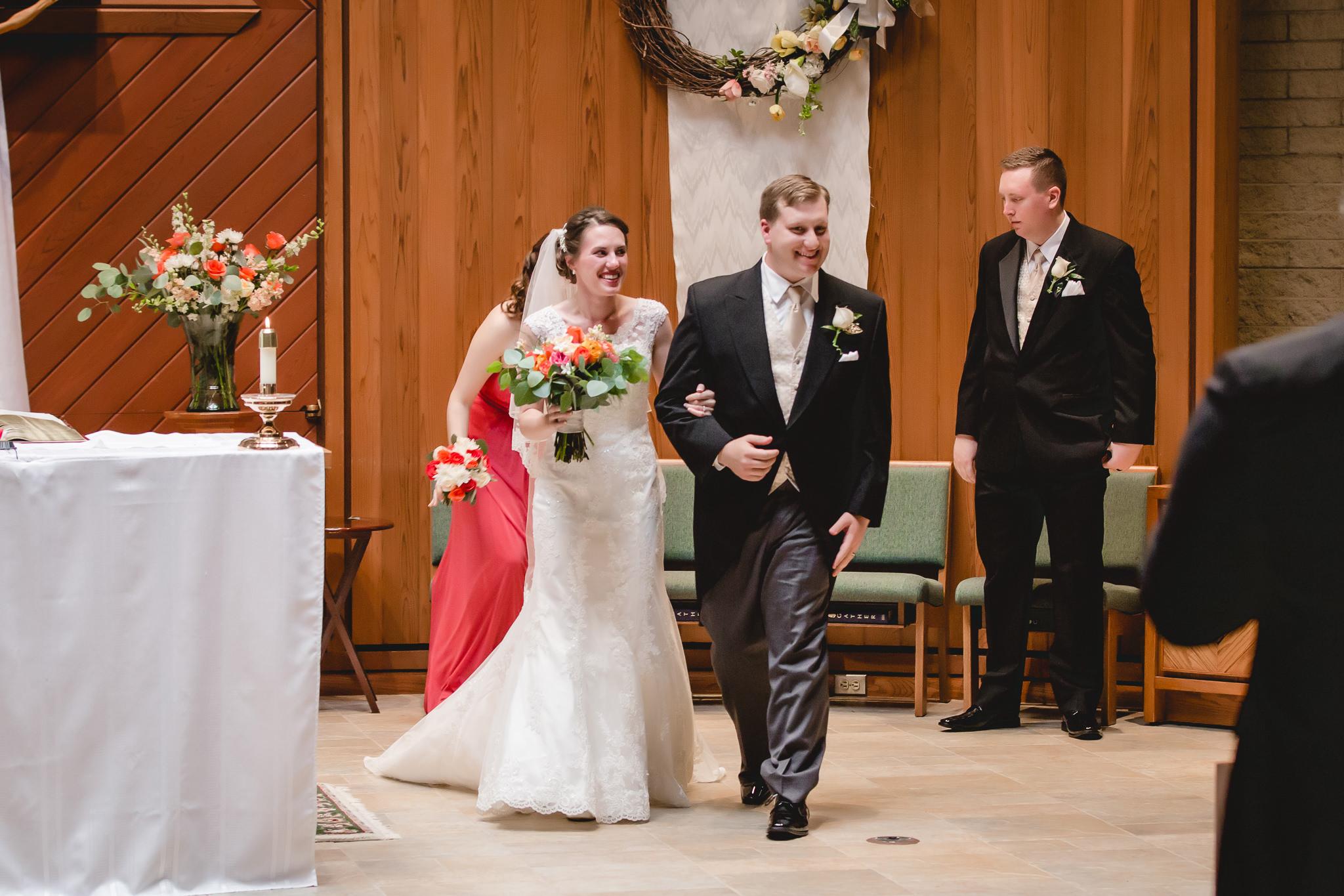 Newlyweds at St. John Neumann Church in Pittsburgh PA wedding