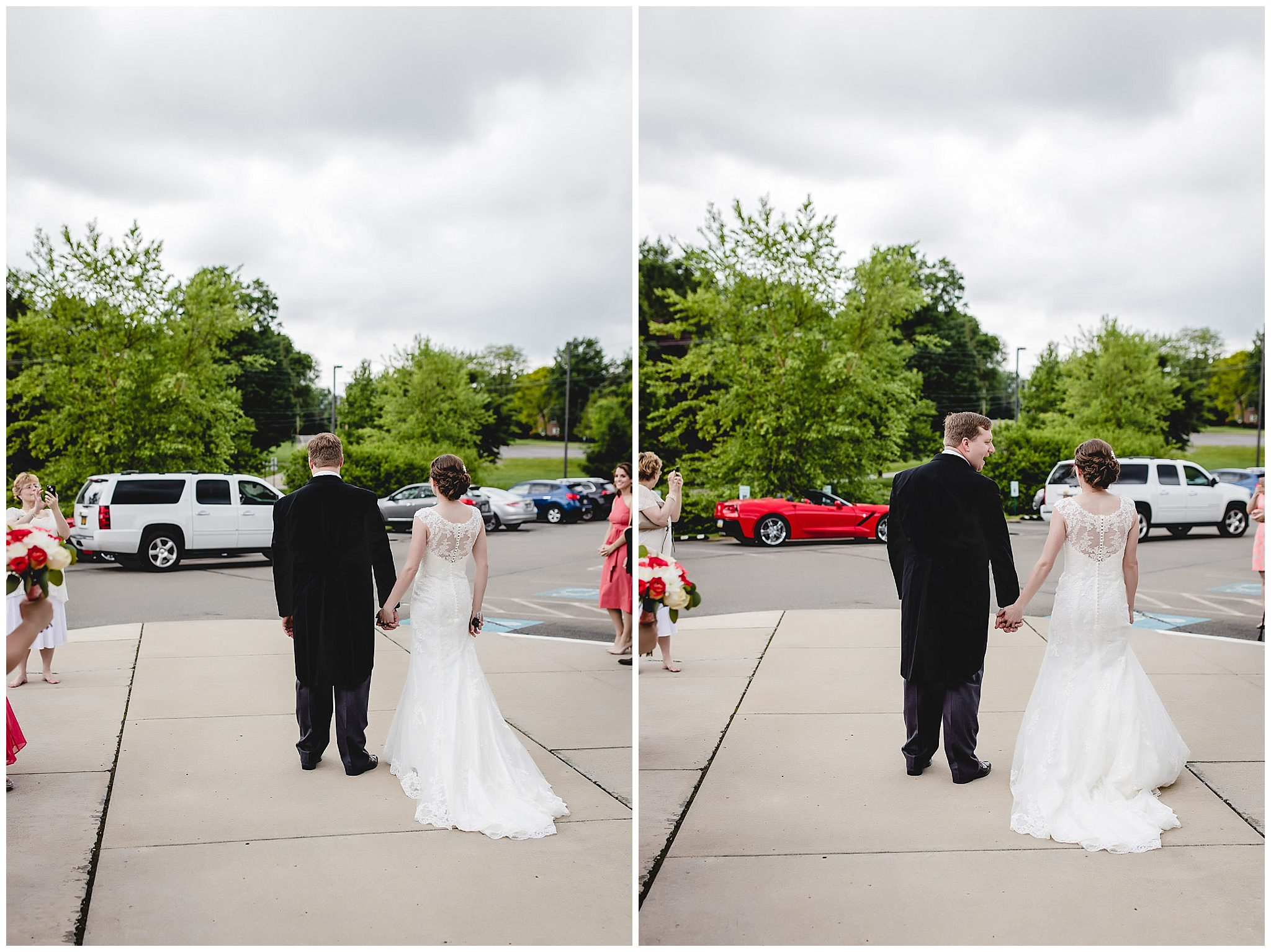 Bride surprises groom with red Corvette on their wedding day