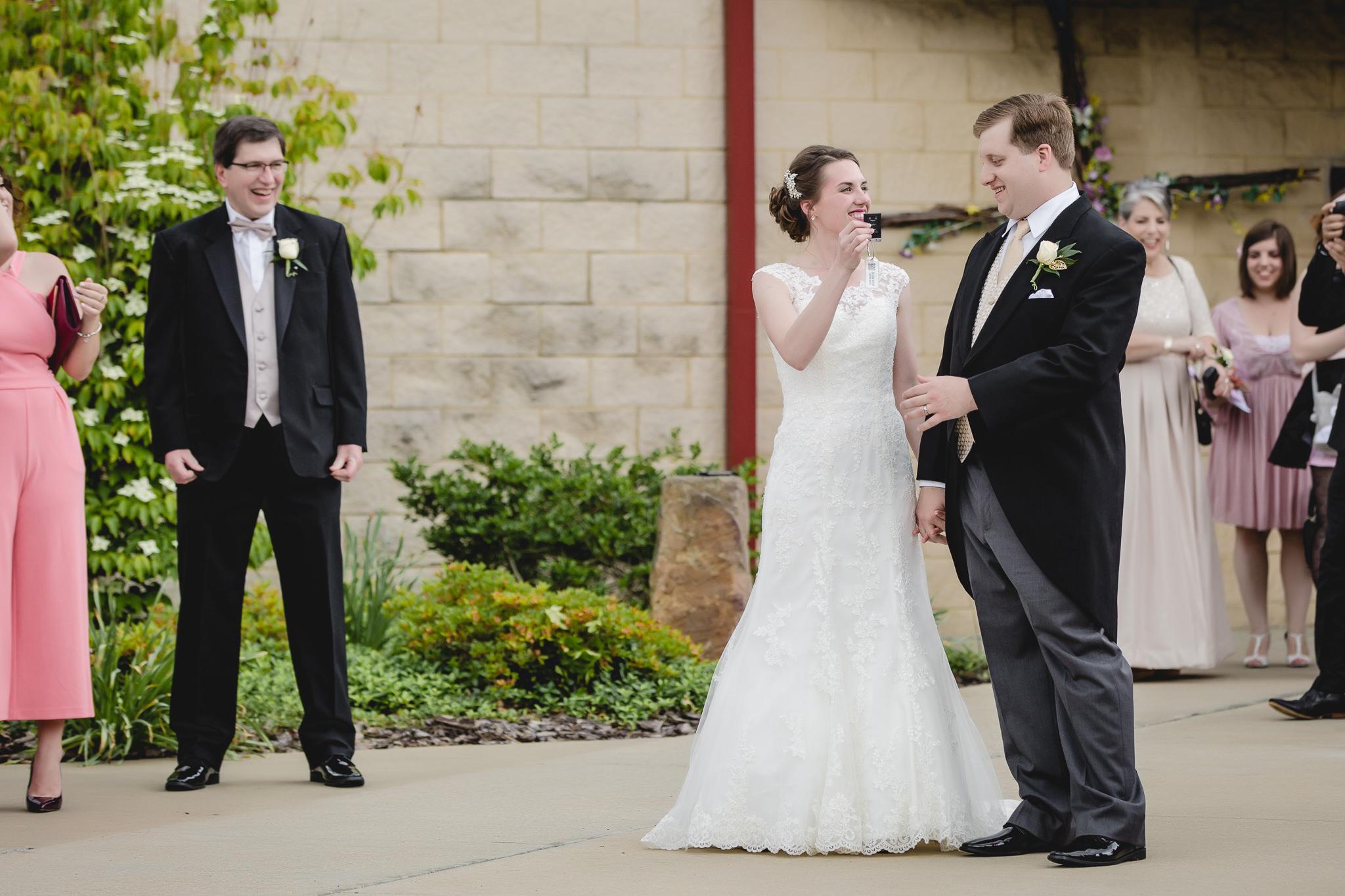 Bride gives groom keys to surprise red Corvette