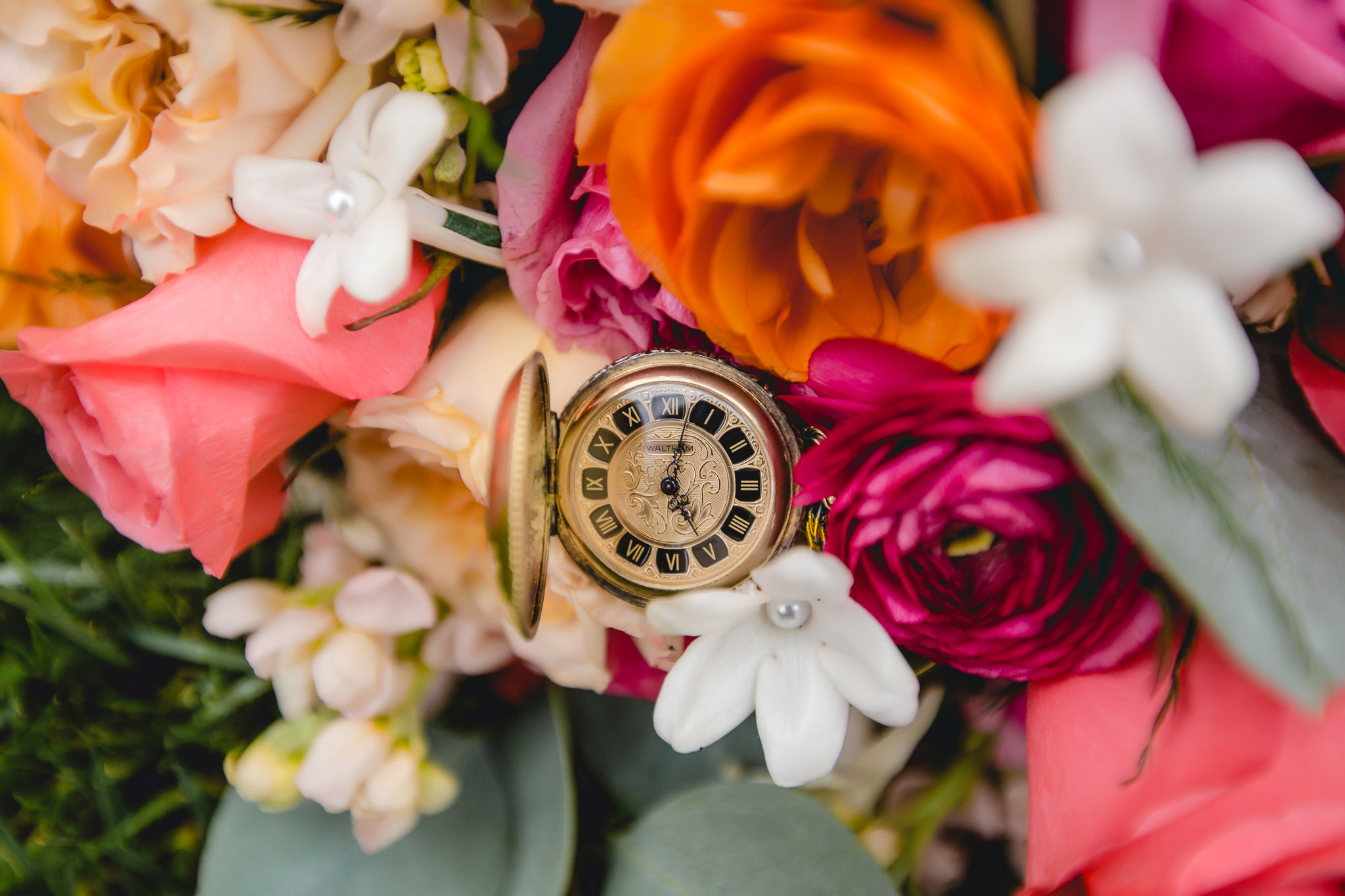 Heirloom pocket watch in bride's bouquet by McCandless Floral in Pittsburgh PA