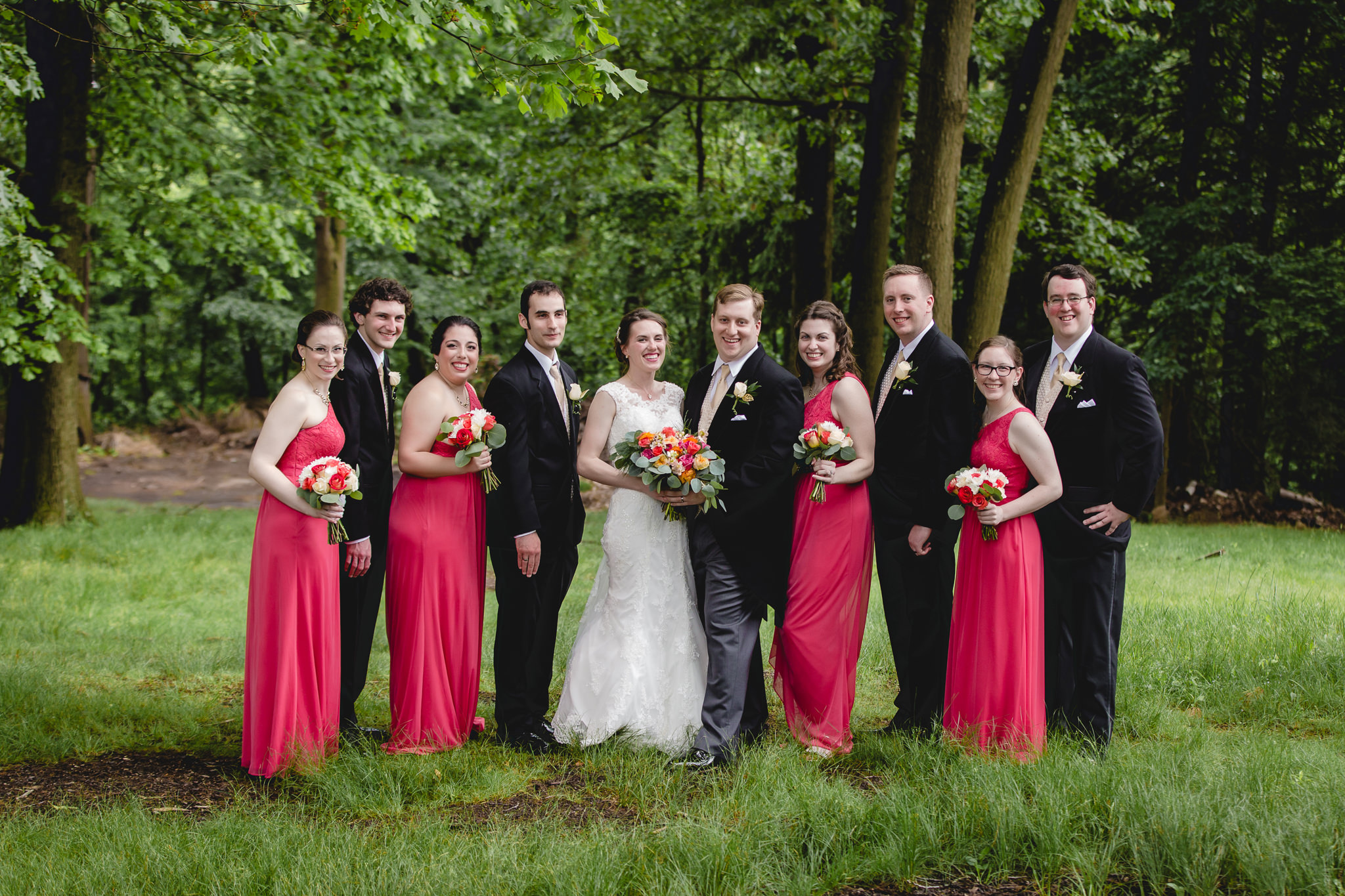 Bridal party at Shannopin Country Club wedding