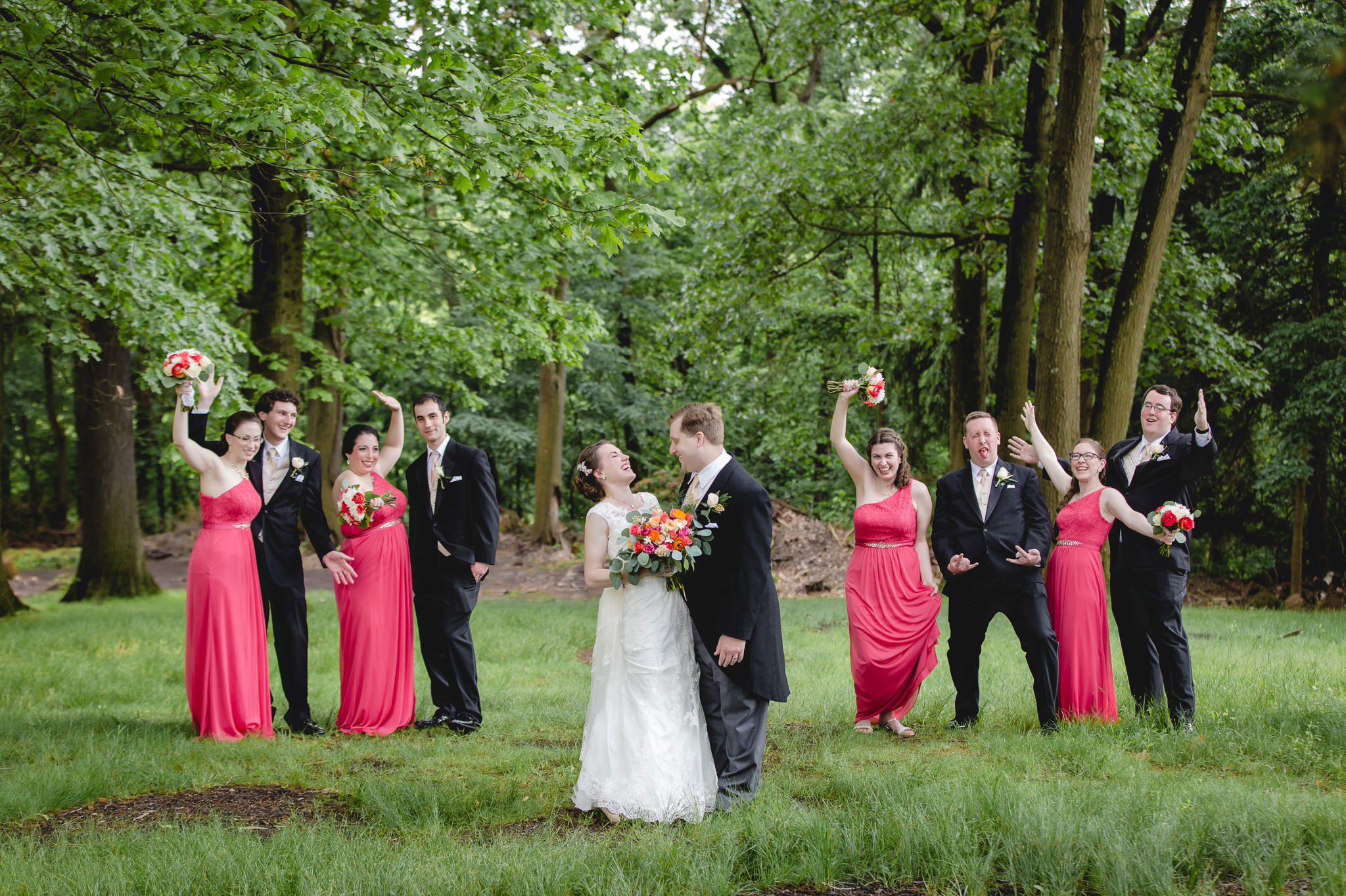 Bridal party laughing at Shannopin Country Club wedding