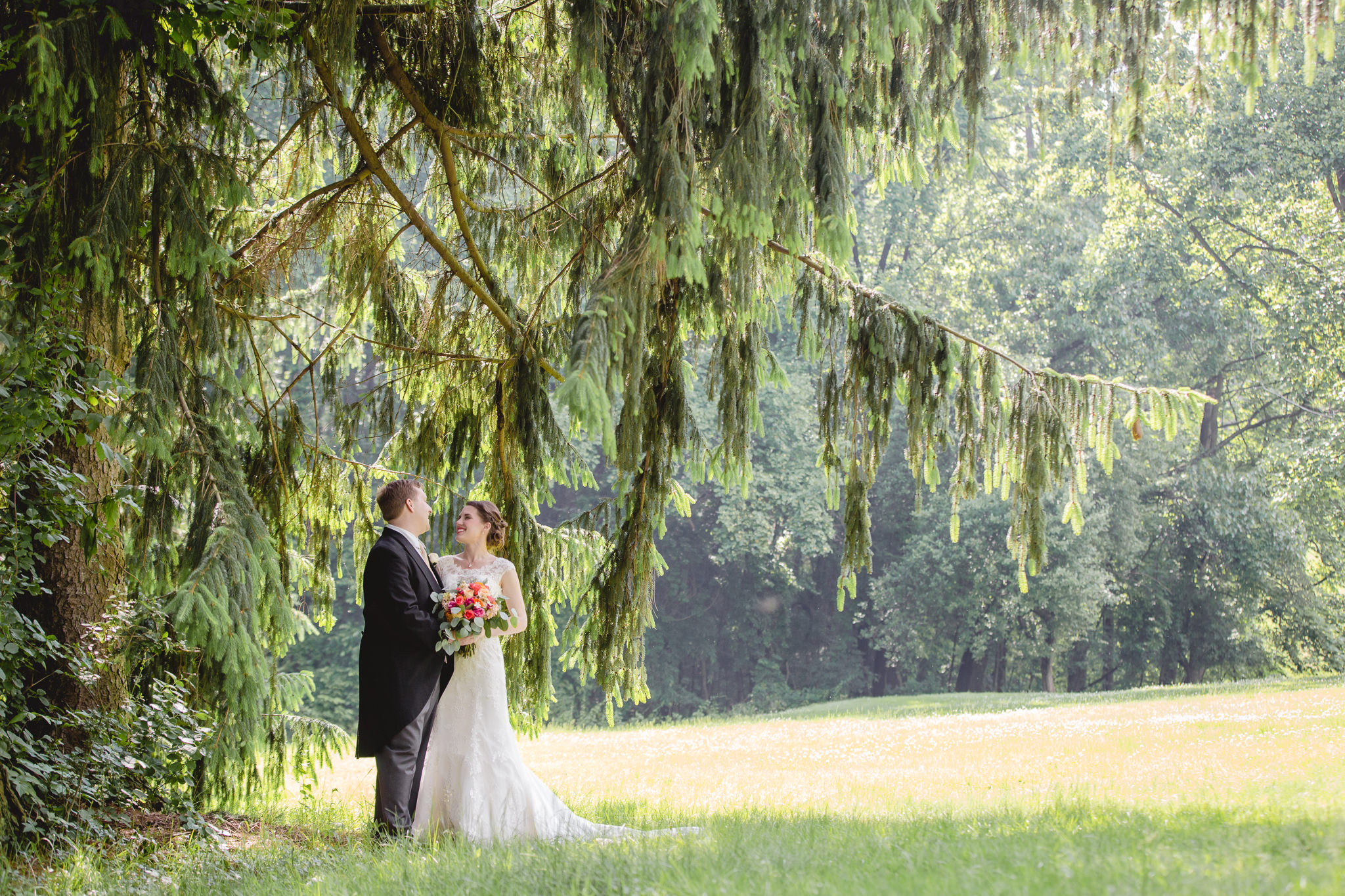 Bride & groom pose for portraits at Shannopin Country Club wedding