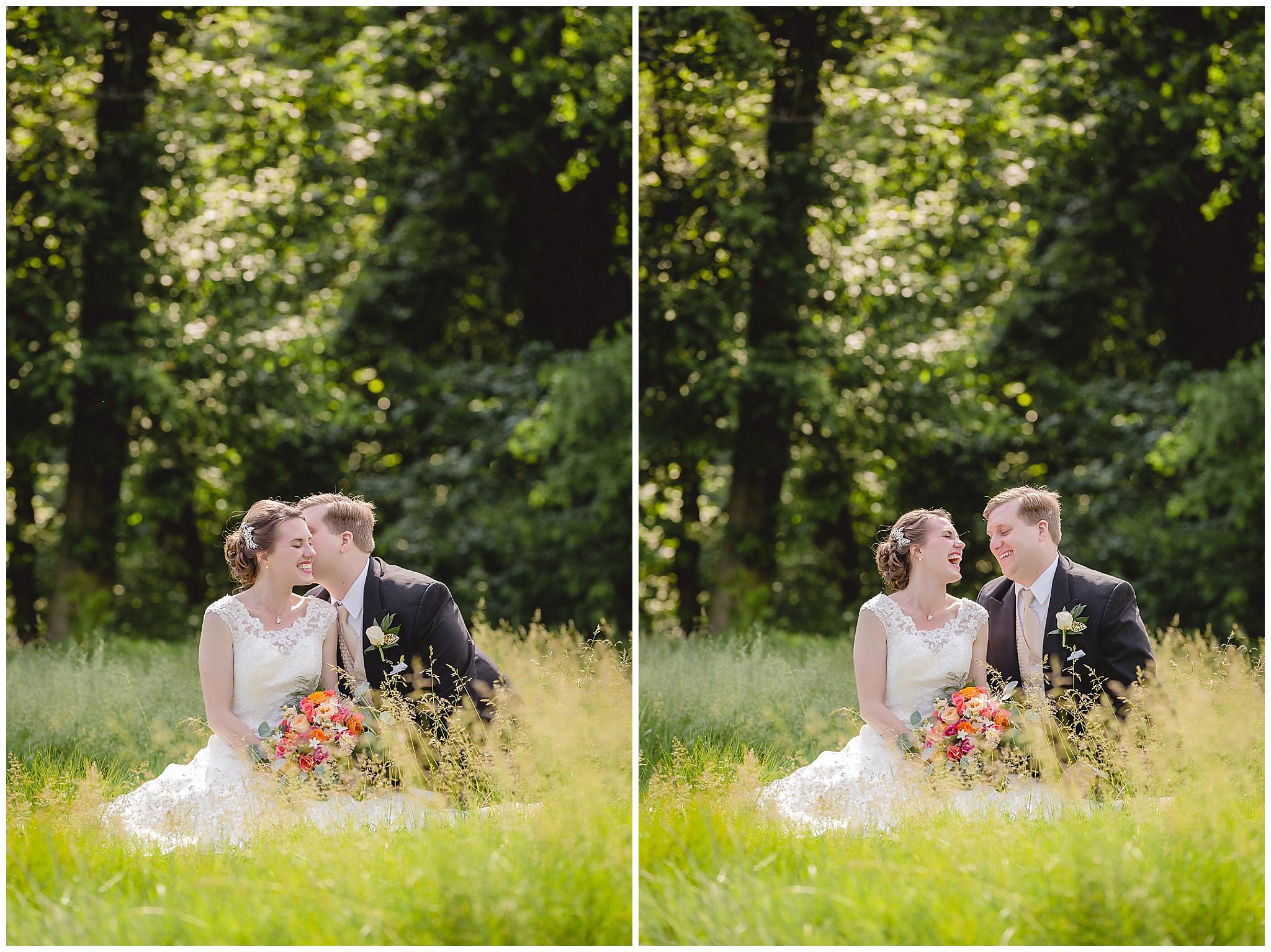 Bride & groom laughing at Shannopin Country Club