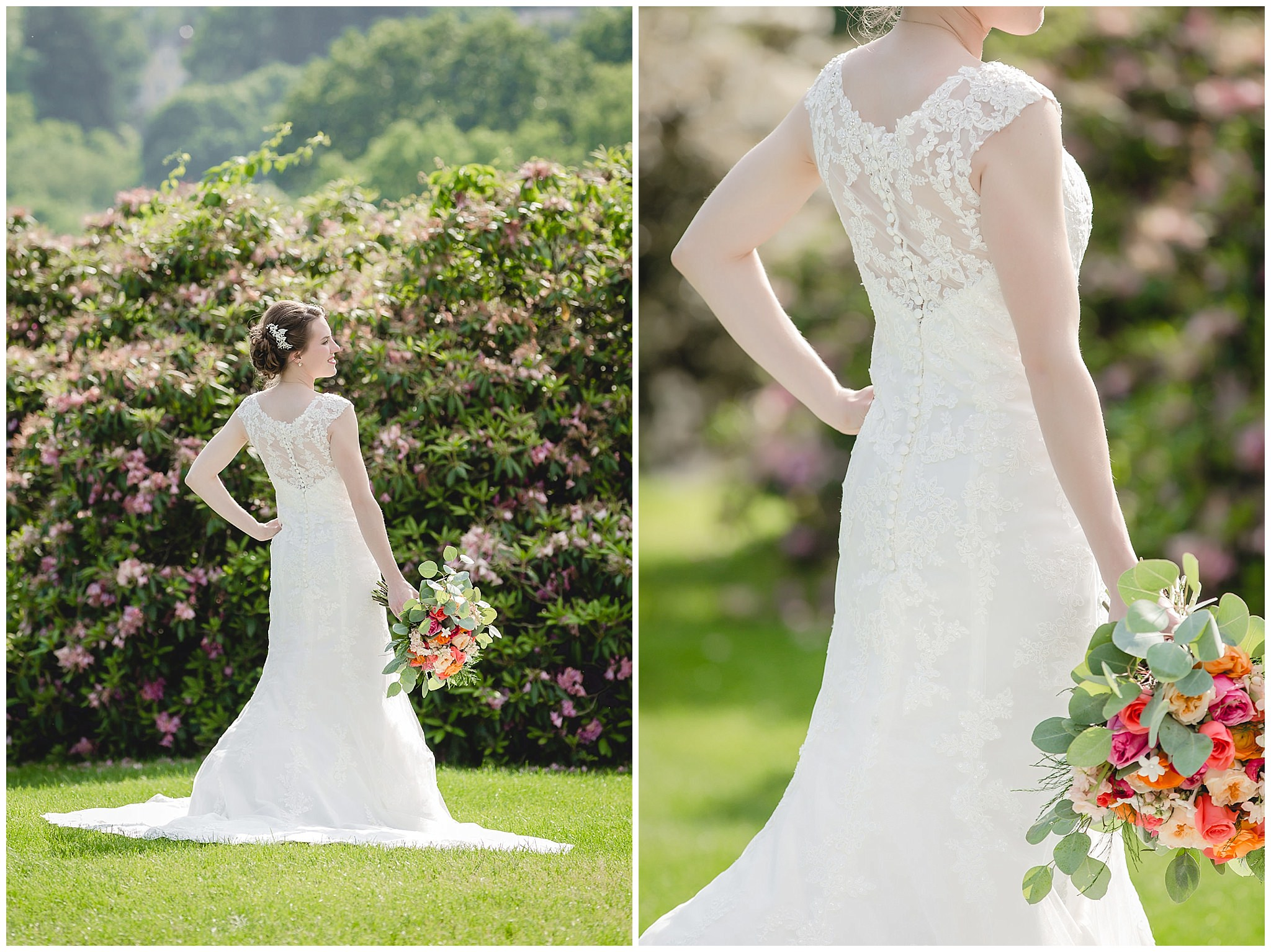 Back of a lace wedding gown from MB Bride at Shannopin Country Club