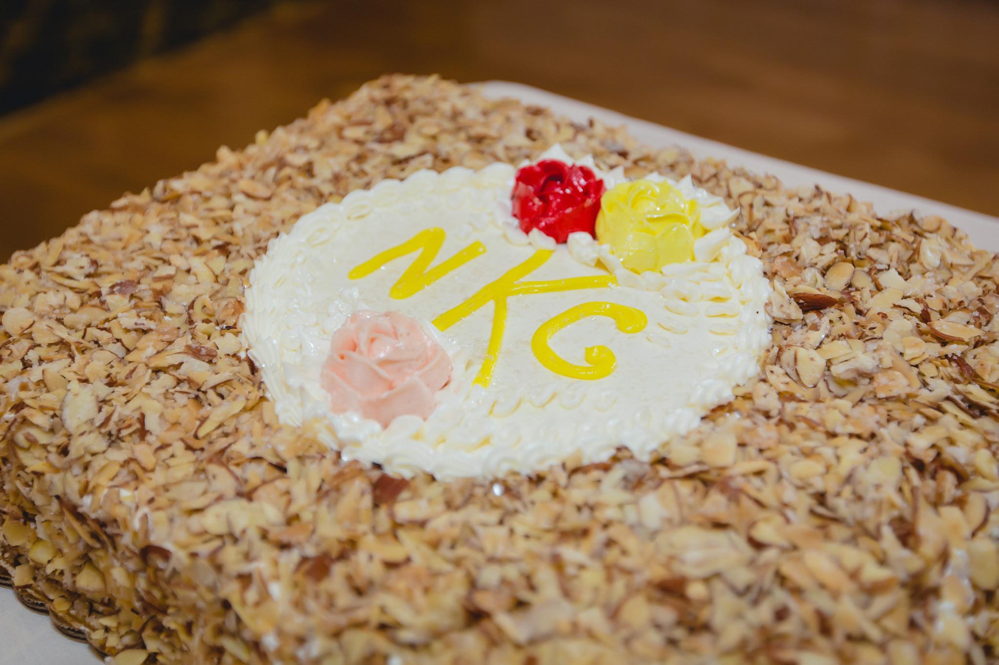 Monogram wedding cake by Prantl's bakery in Pittsburgh PA