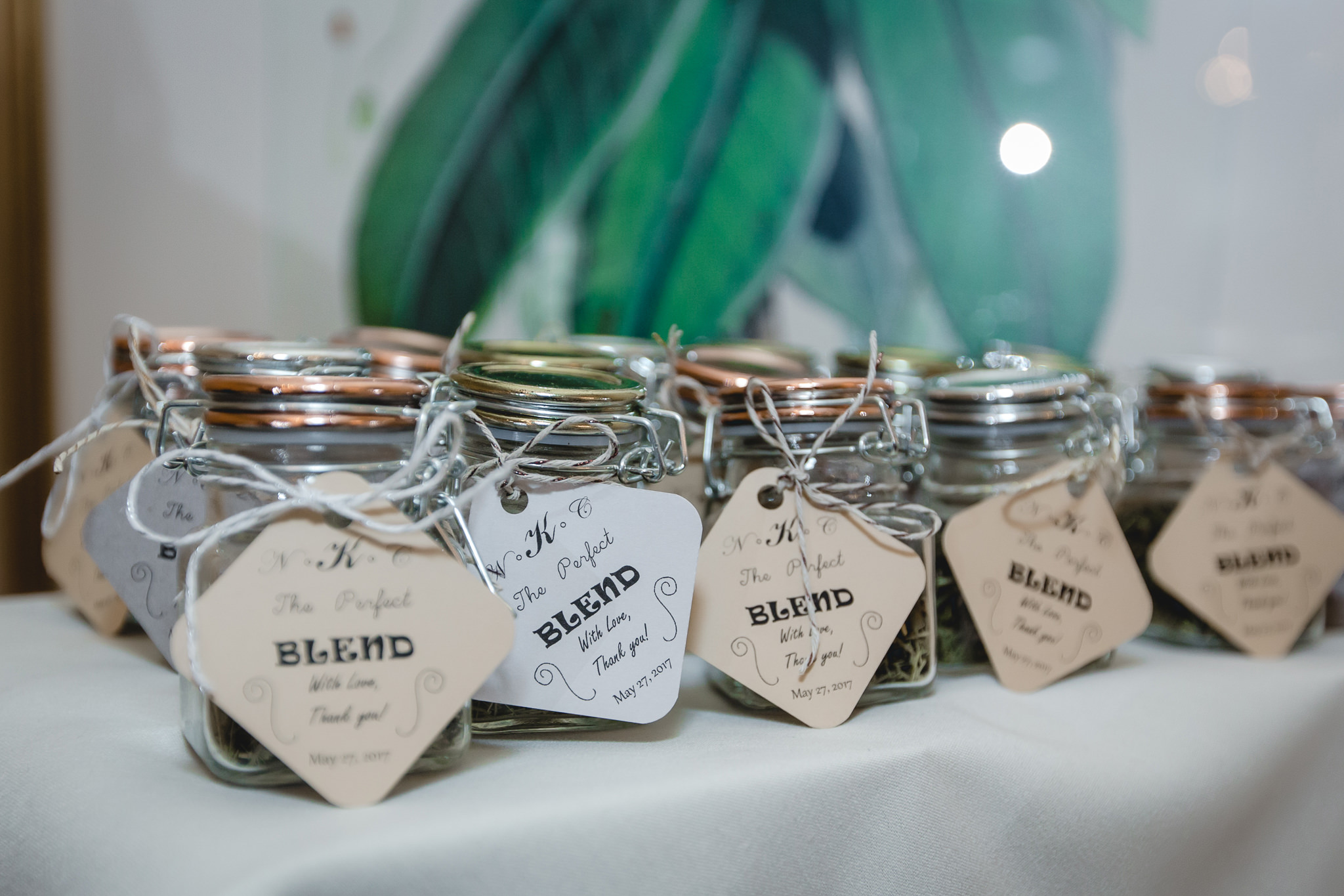Wedding favors at Shannopin Country Club reception