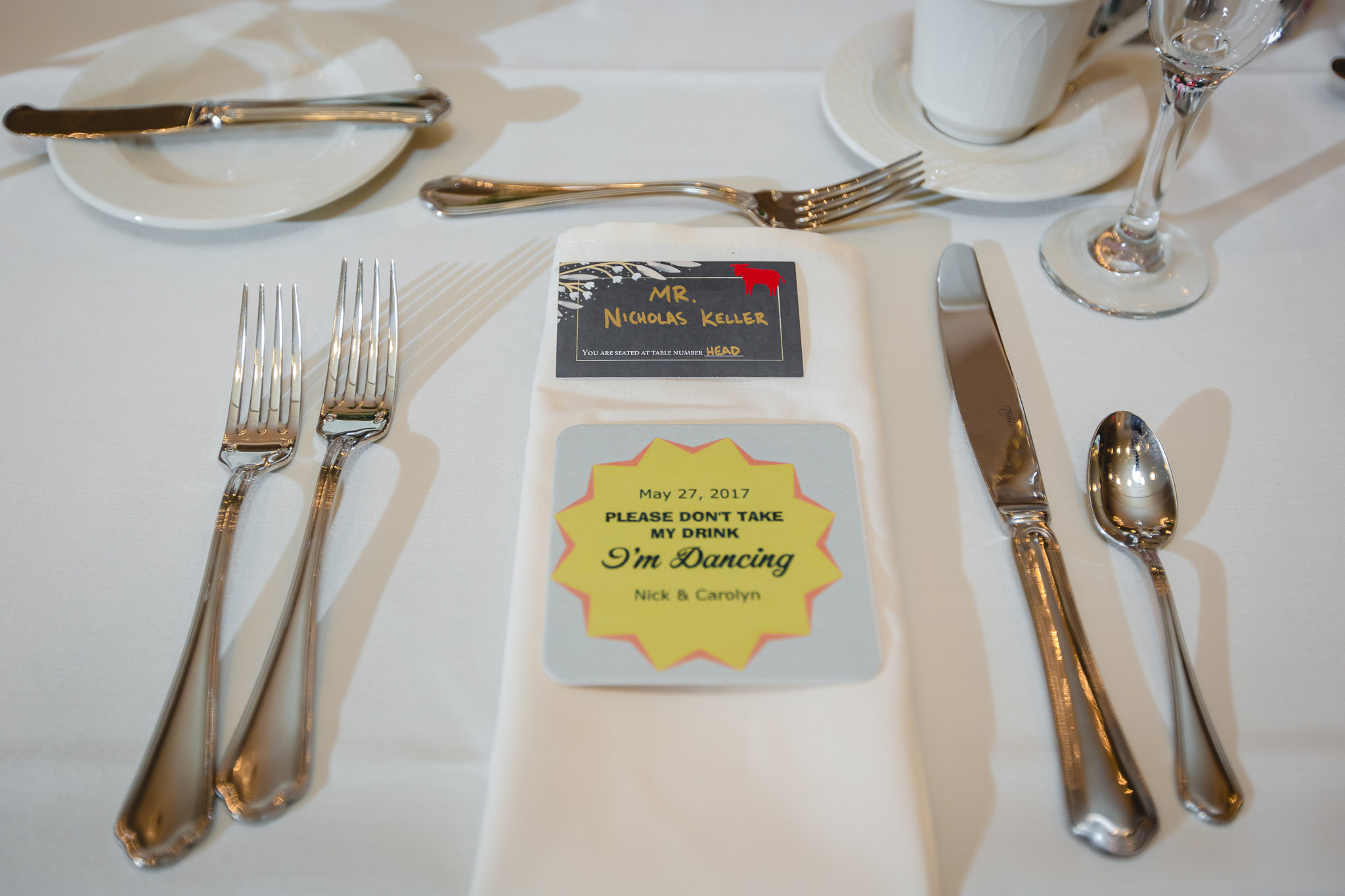 Place settings at Shannopin Country Club wedding reception