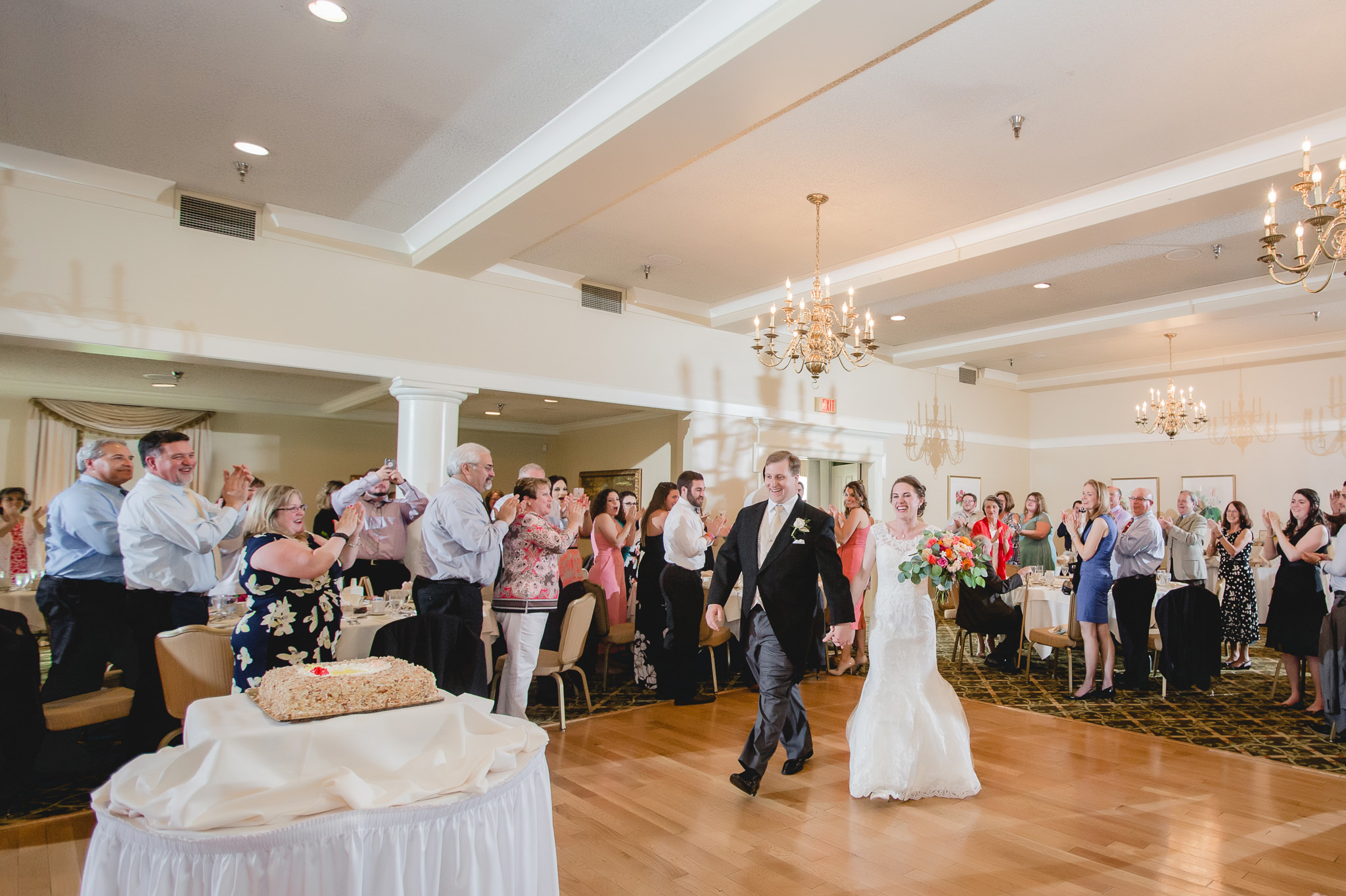 Bride & groom enter wedding reception at Shannopin Country Club