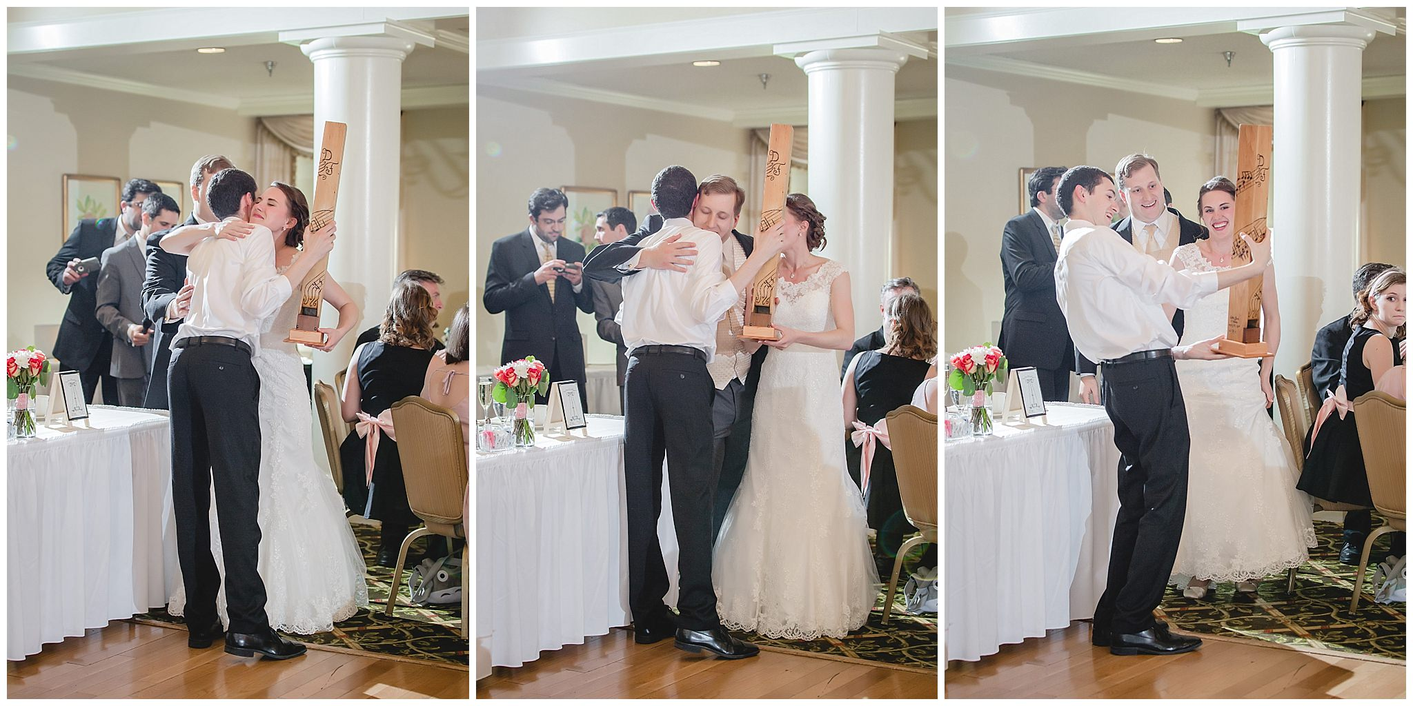 Bride & groom present gift to friend at Shannopin Country Club reception