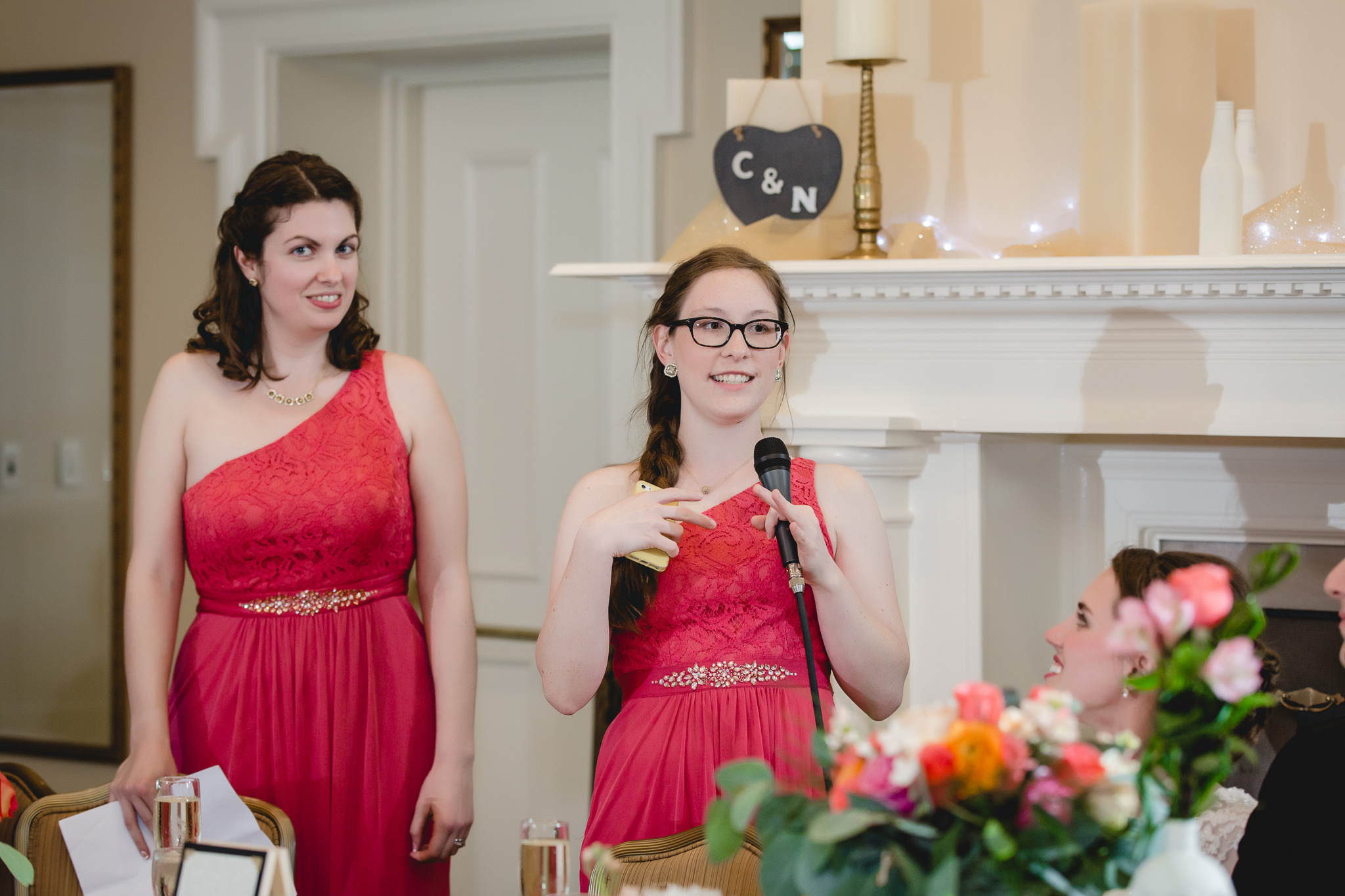 Maid of honor gives a speech at a Shannopin Country Club wedding reception