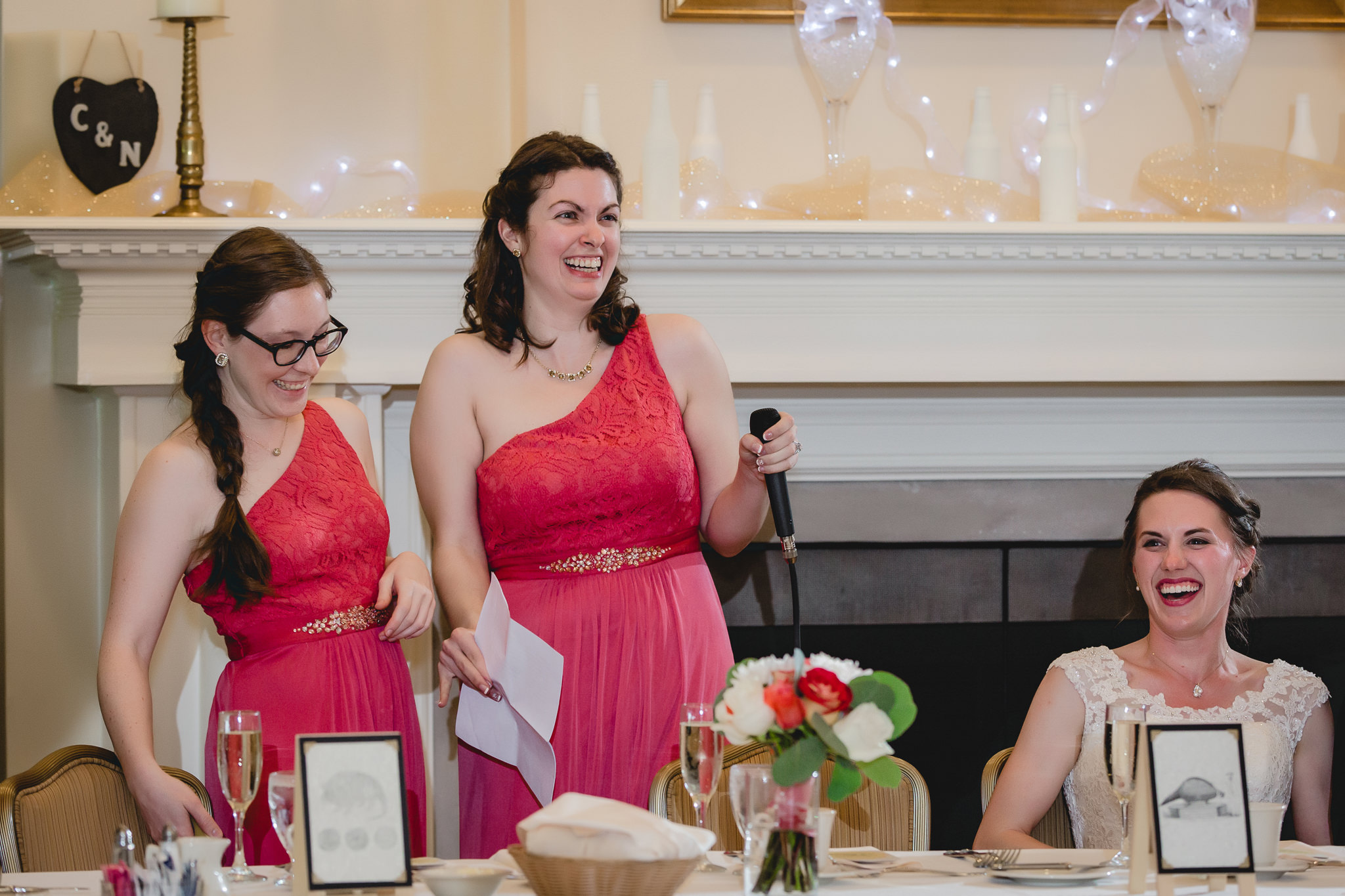 Maid of honor toasts the bride at a Shannopin Country Club wedding reception