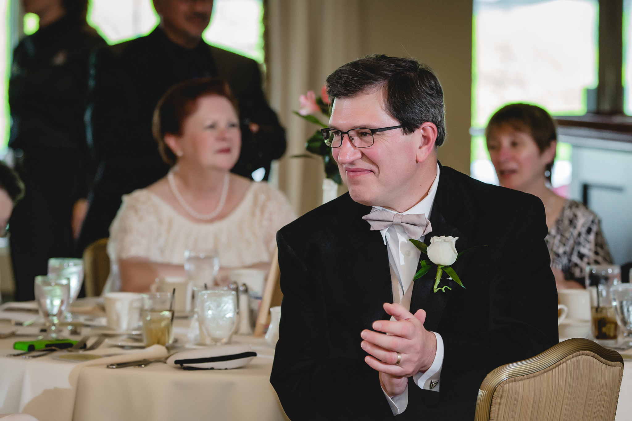 Father of the bride enjoys the speeches at Shannopin Country Club wedding