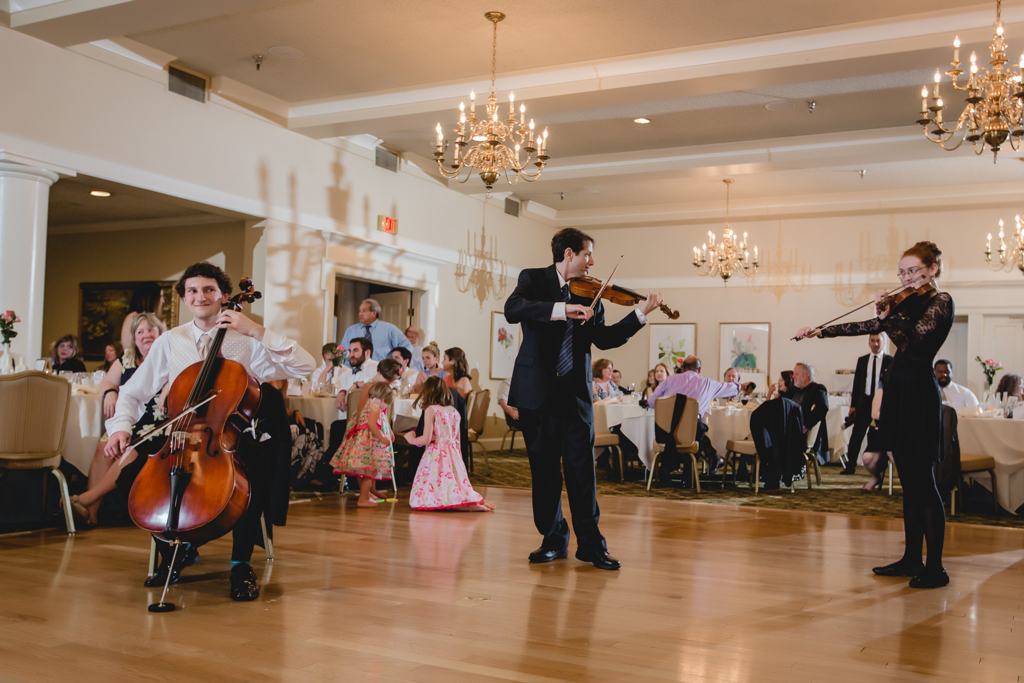 String trio performs at Shannopin Country Club wedding reception