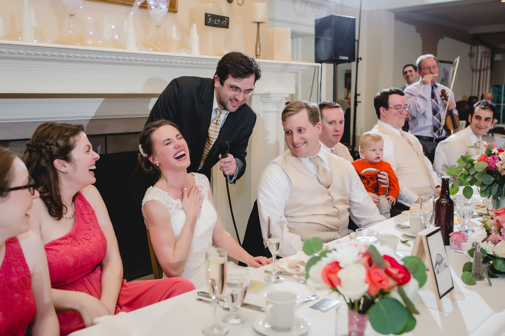 Bride & groom at the head table in their Shannopin Country Club reception
