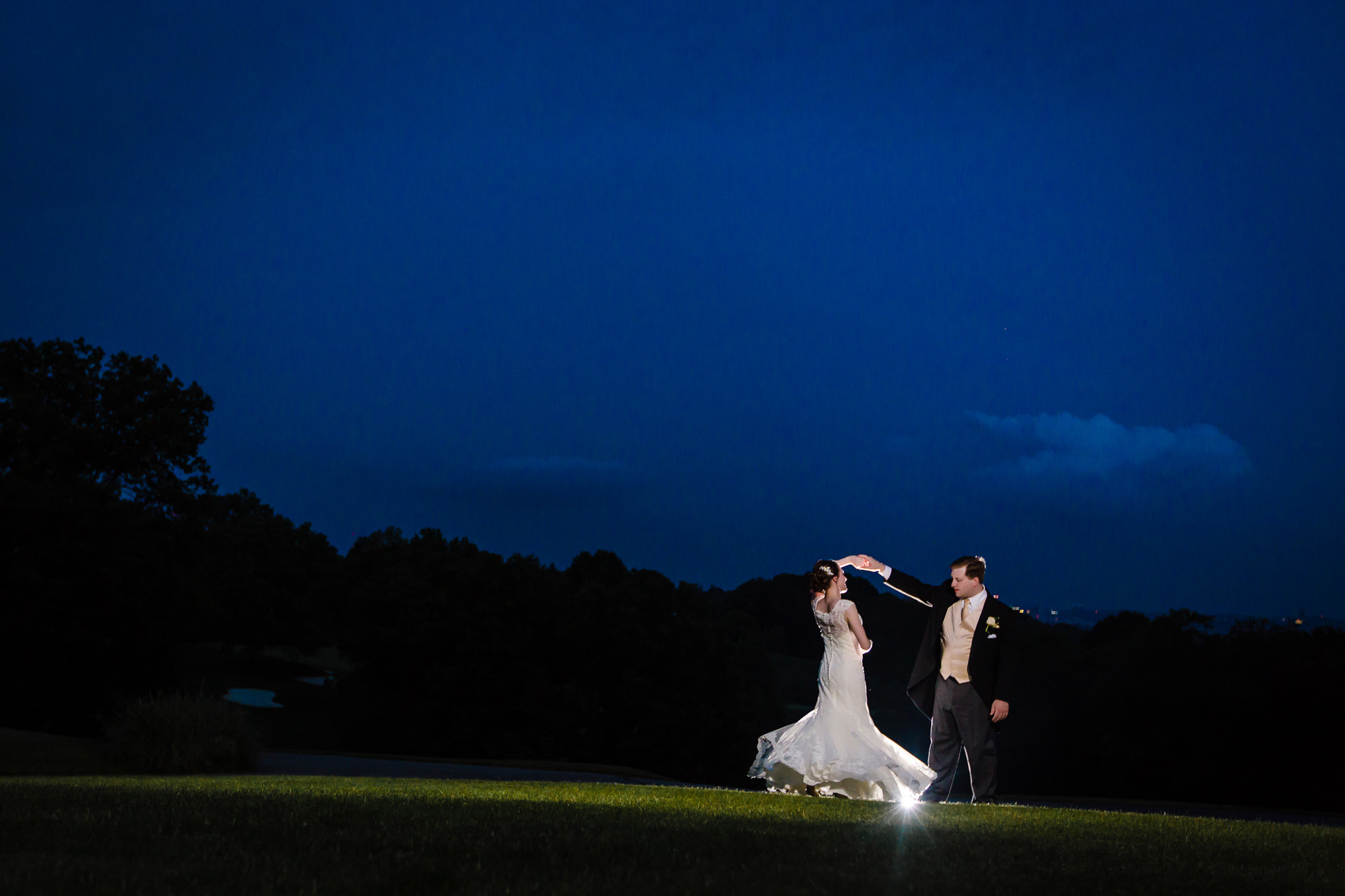 Night portrait of bride & groom at Shannopin Country Club in Pittsburgh