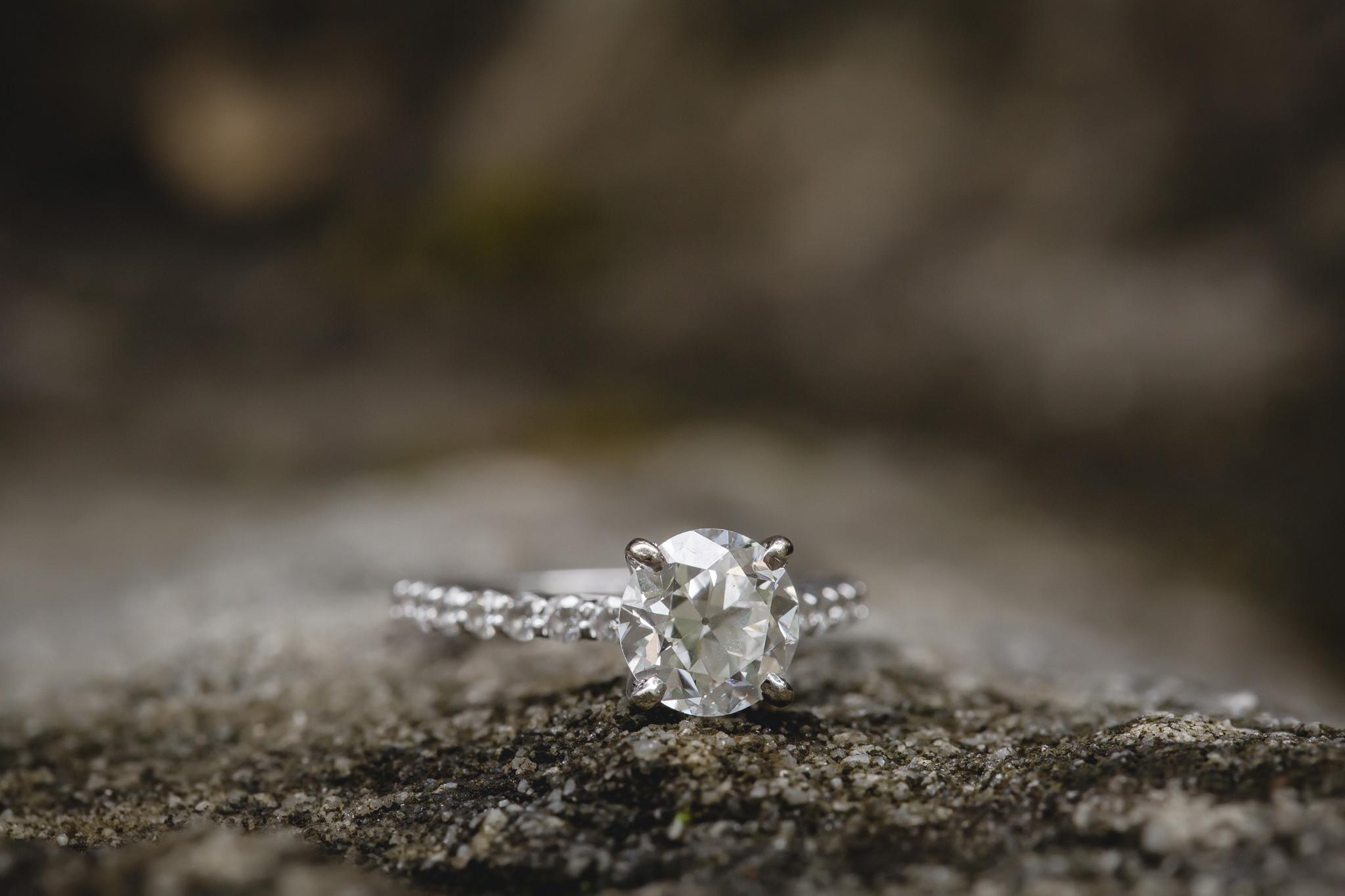 Diamond engagement ring on a rock at Hidden Valley Resort