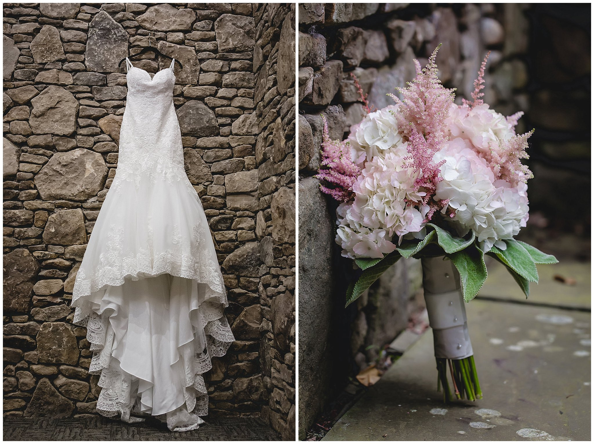 Lace wedding dress and pink bridal bouquet at Hidden Valley Resort