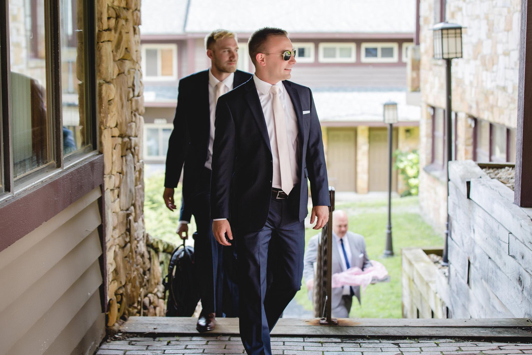 Groom arrives at his Hidden Valley Resort wedding