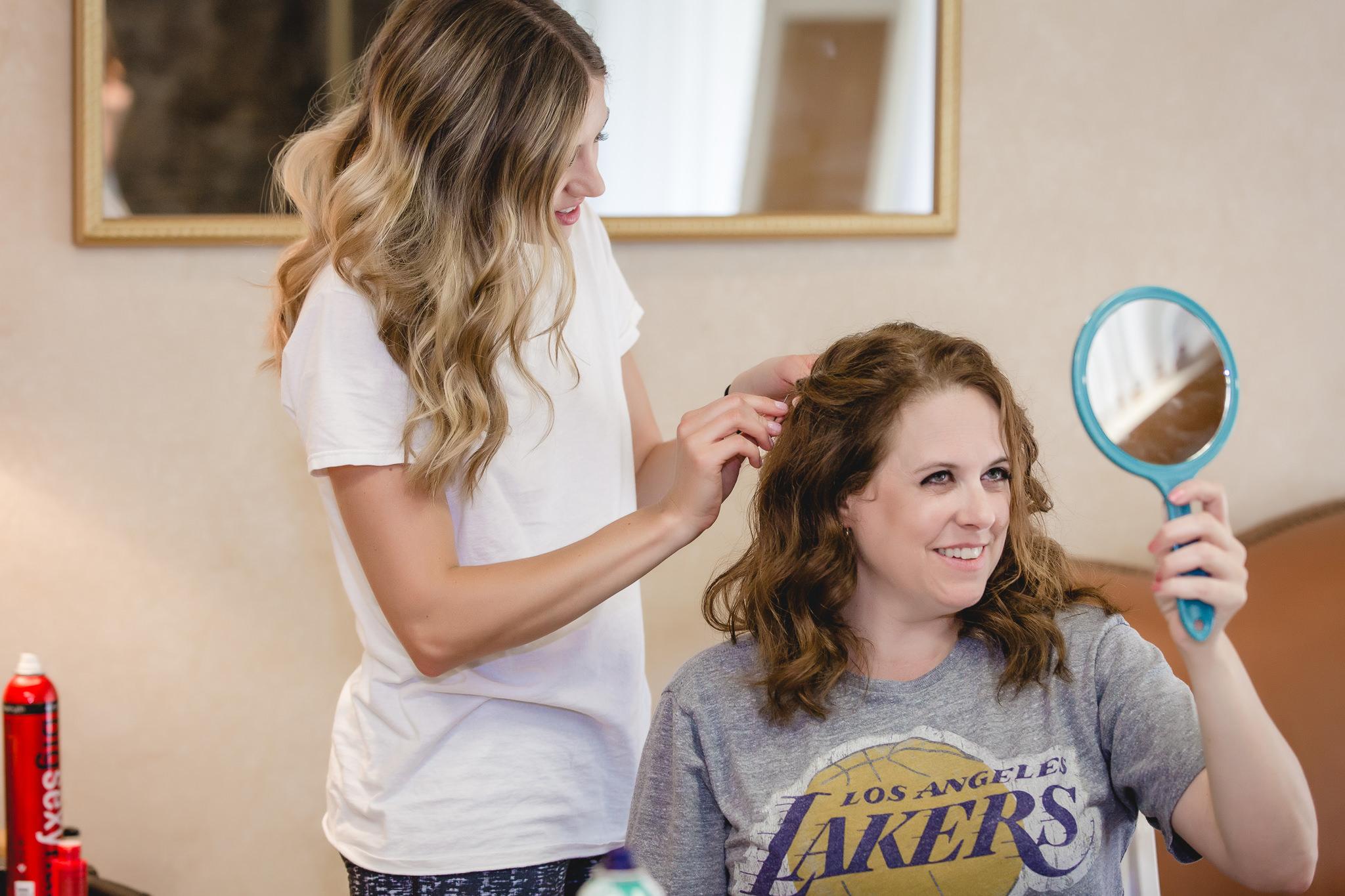 Bride does her mother's hair for her Hidden Valley Resort wedding