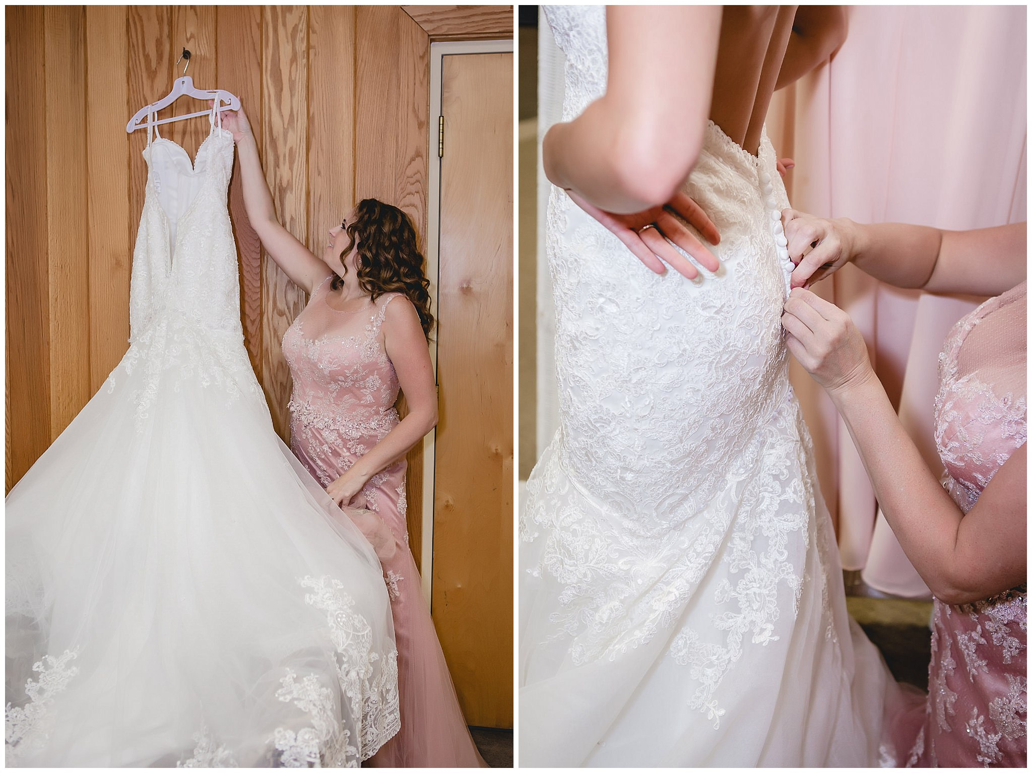 Mother of the bride helps bride into her lace wedding dress at Hidden Valley Resort
