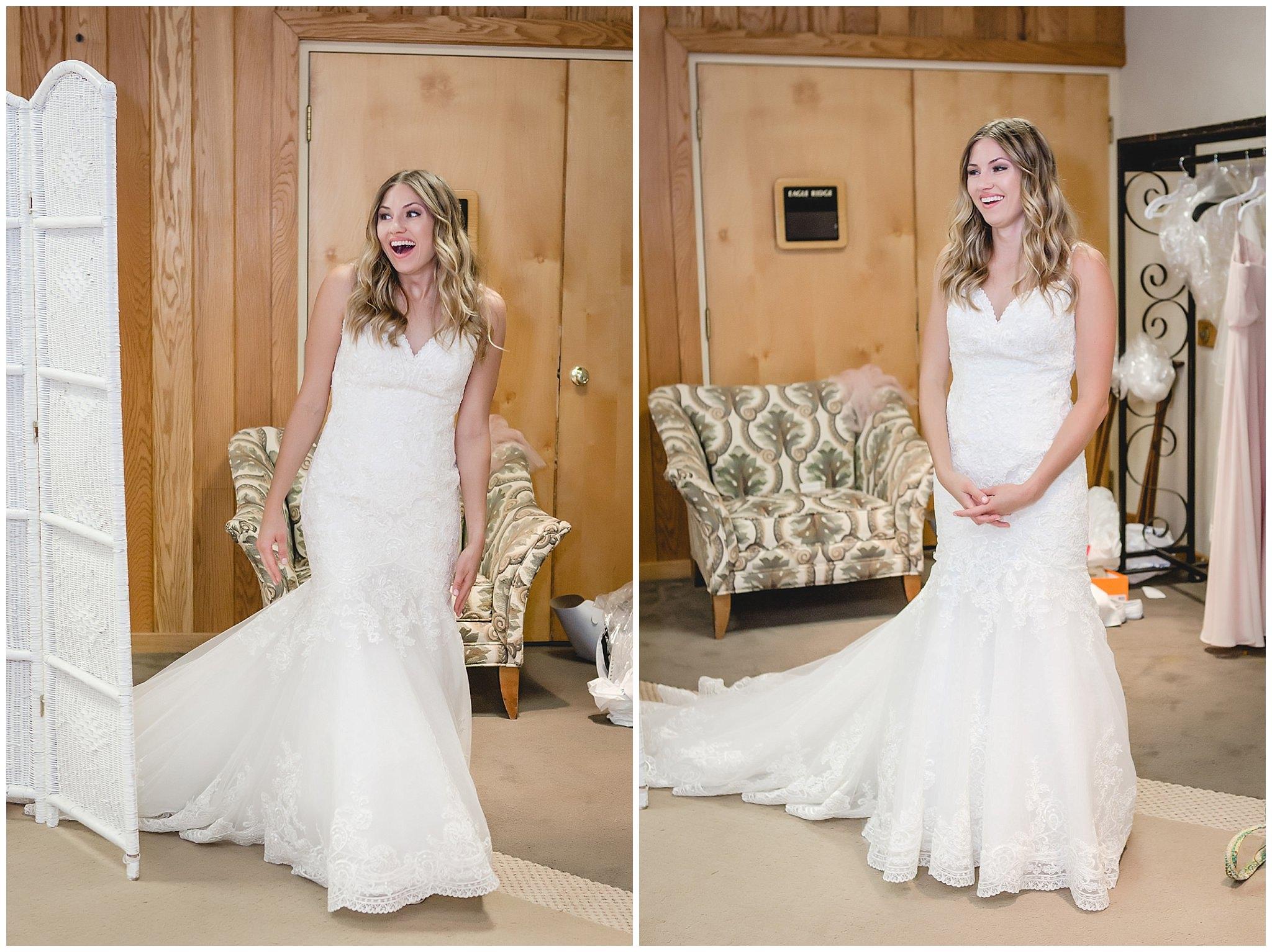 Bride reveals her wedding dress to her bridesmaids at Hidden Valley Resort