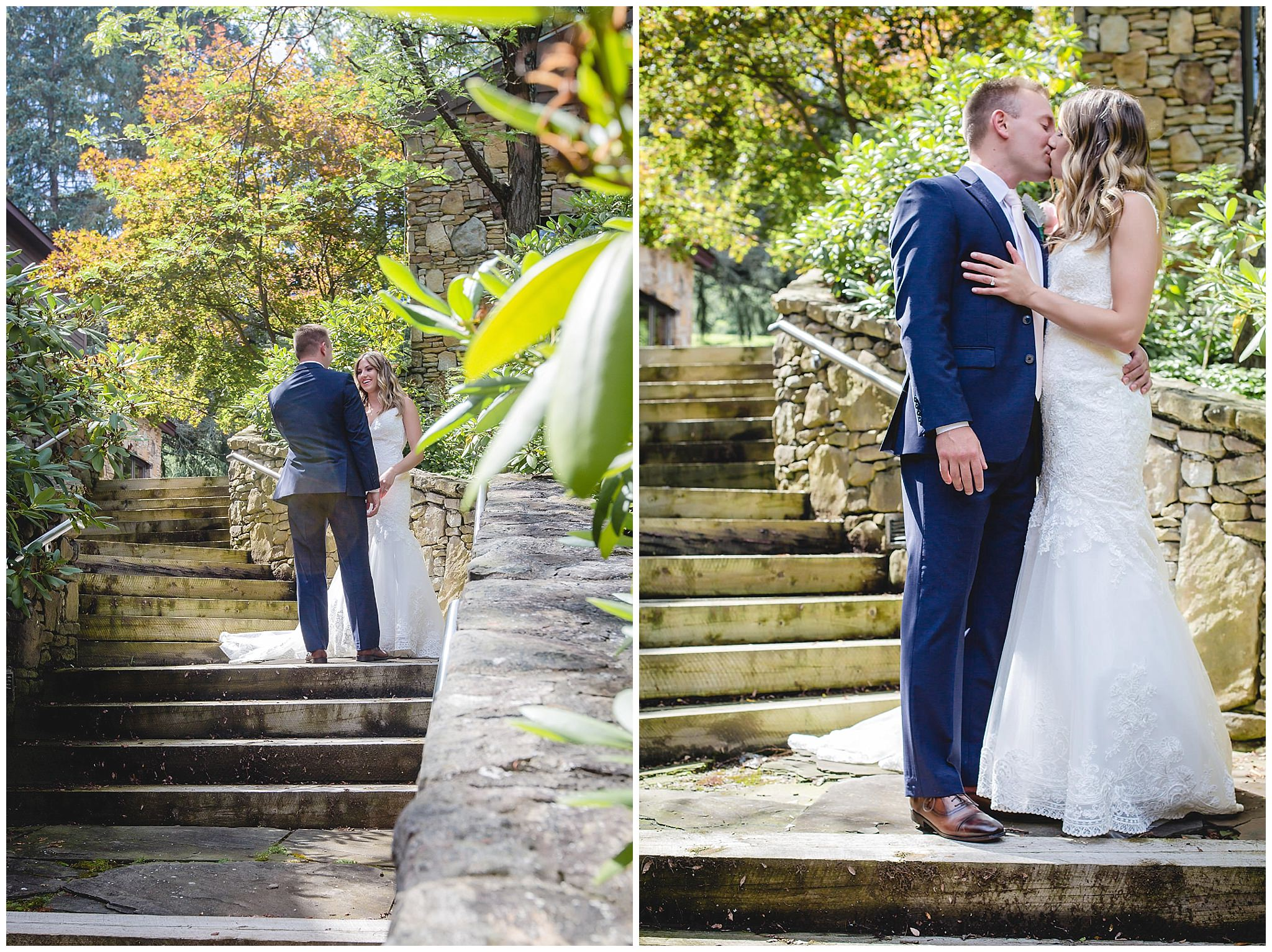 Bride and groom steal a kiss before their Hidden Valley Resort wedding ceremony