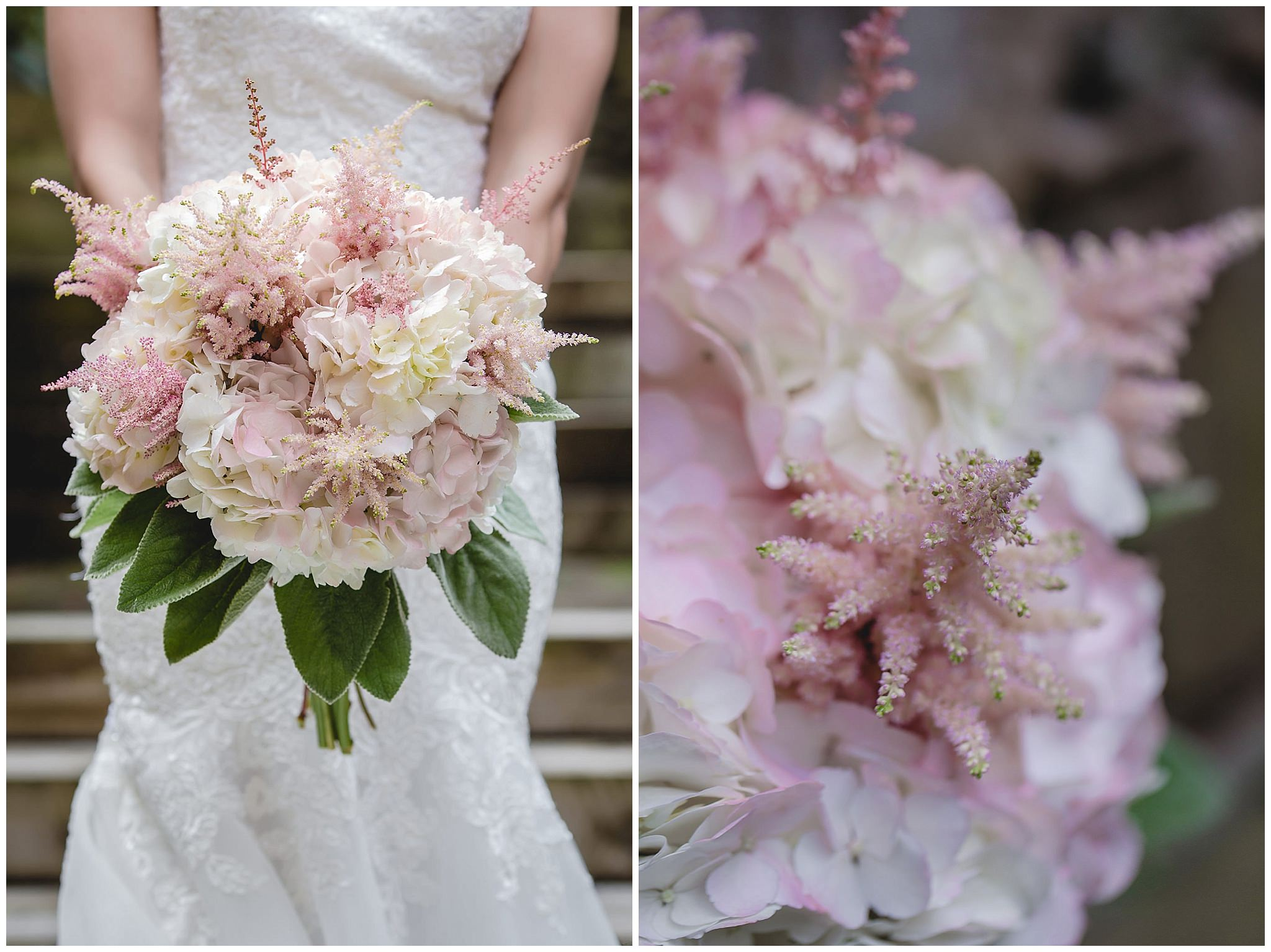 Bridal bouquet of pink and white hydrangeas