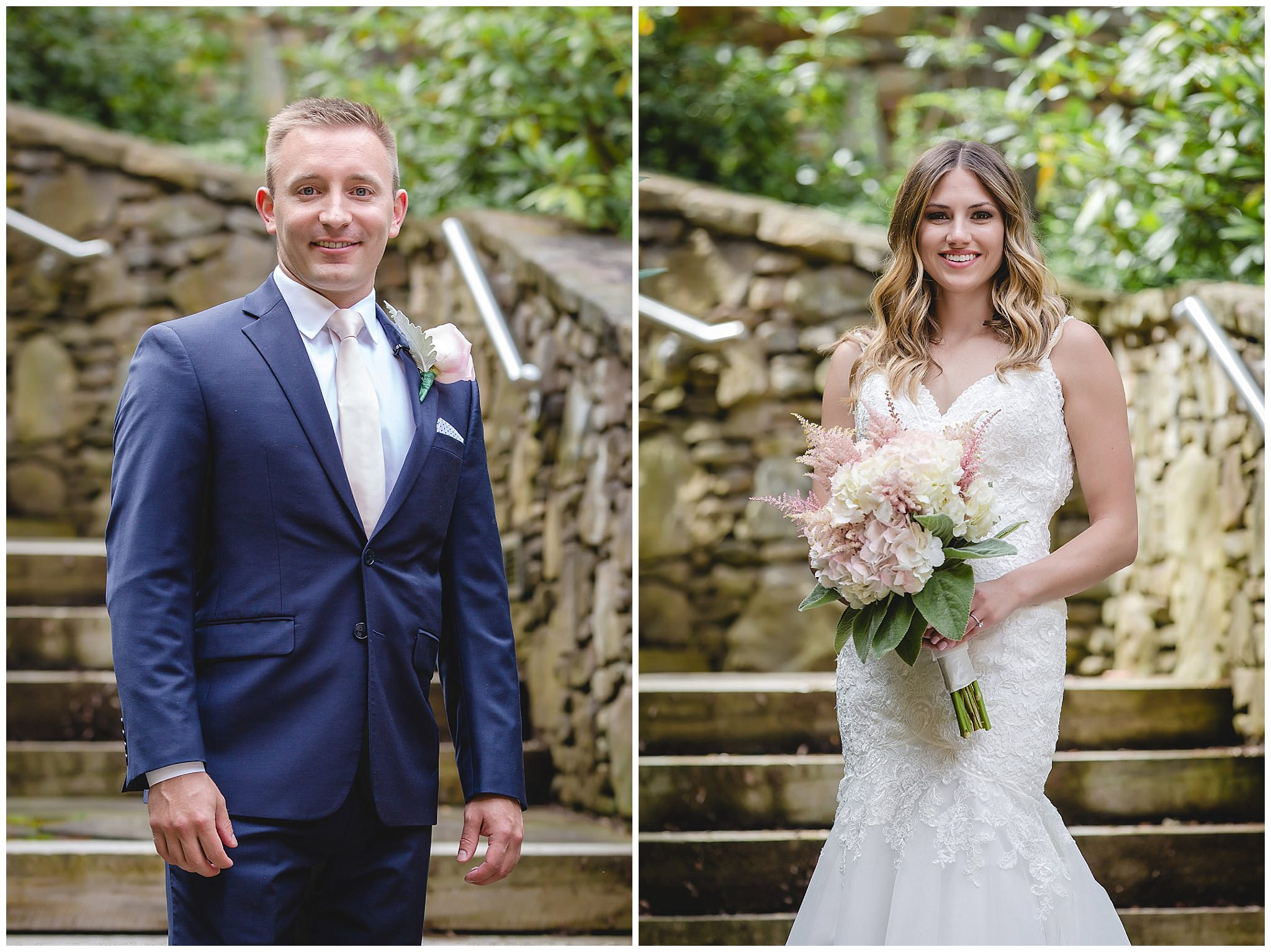 Portraits of the bride and groom at Hidden Valley Resort
