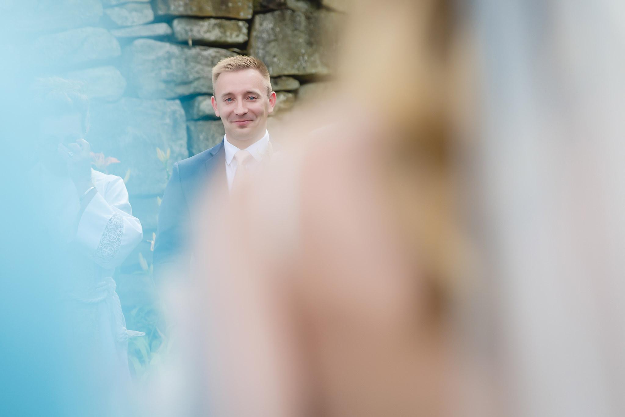 Groom tears up seeing his bride walk down the aisle at Hidden Valley Resort