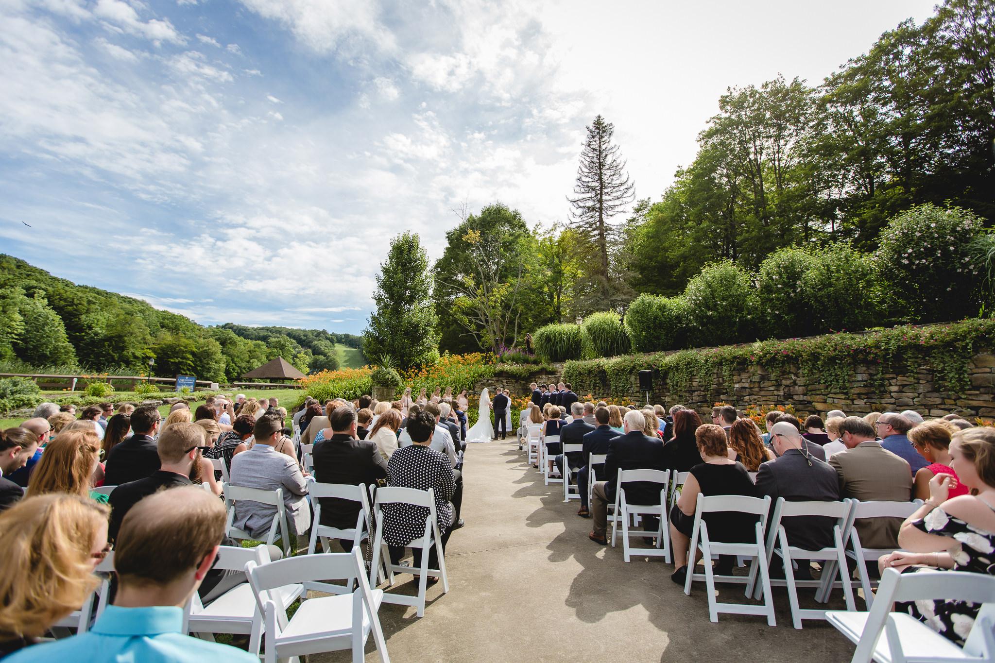 Outdoor summer wedding ceremony at Hidden Valley Resort