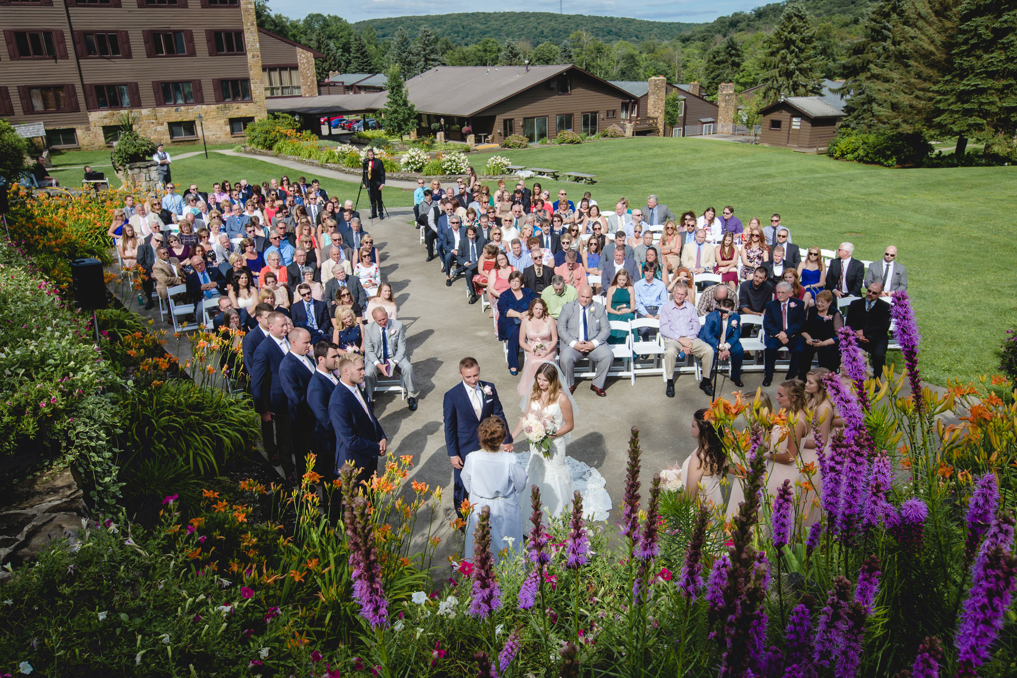 Aerial view of an outdoor wedding ceremony at Hidden Valley Resort