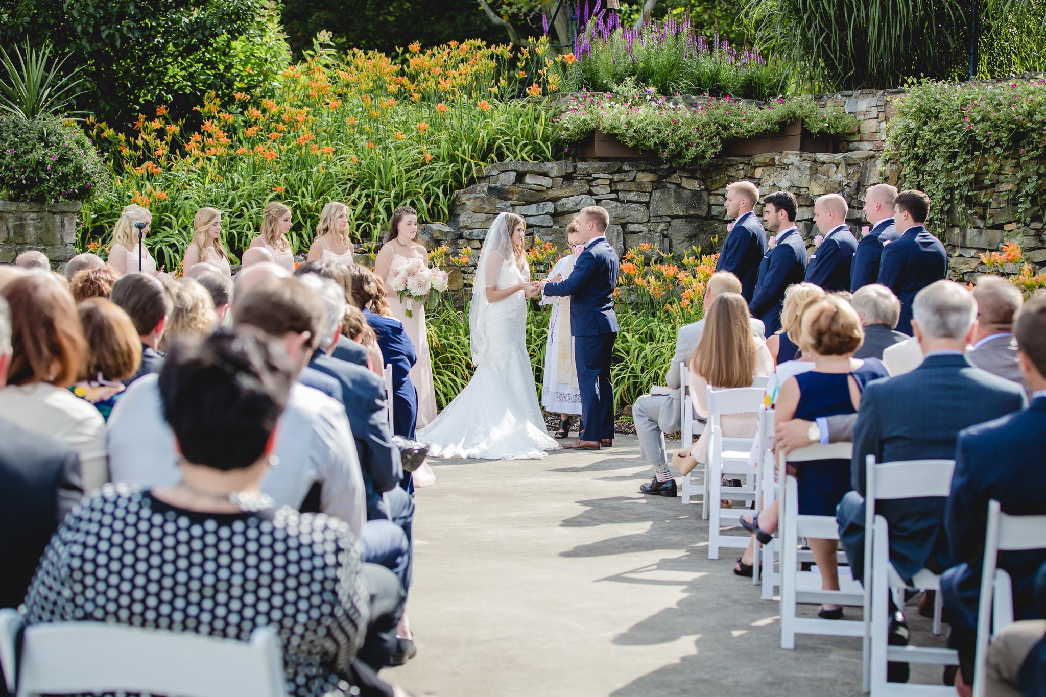 Outdoor wedding ceremony at Hidden Valley Resort in July