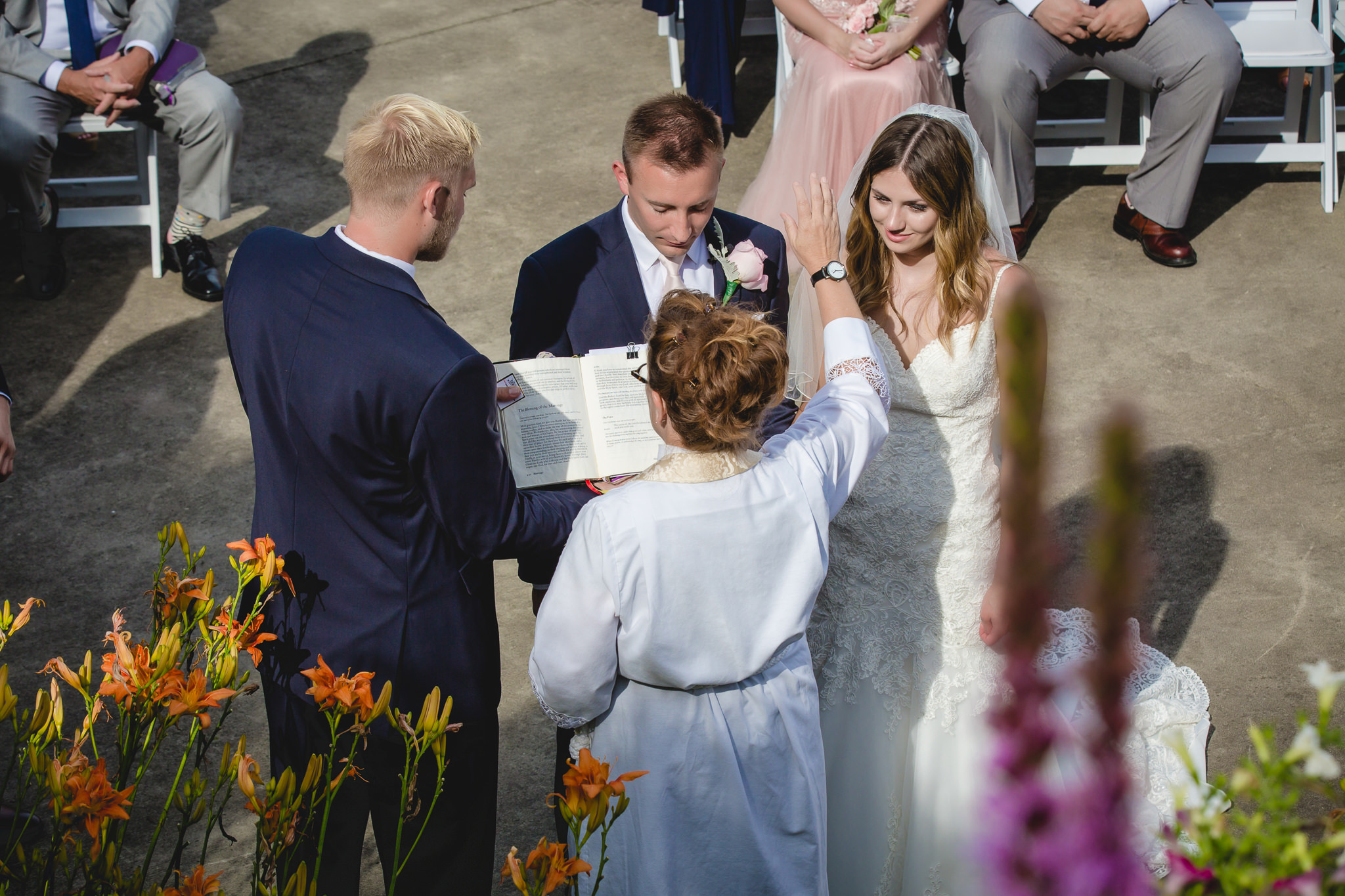 Officiant blesses the newlyweds at a Hidden Valley Resort wedding