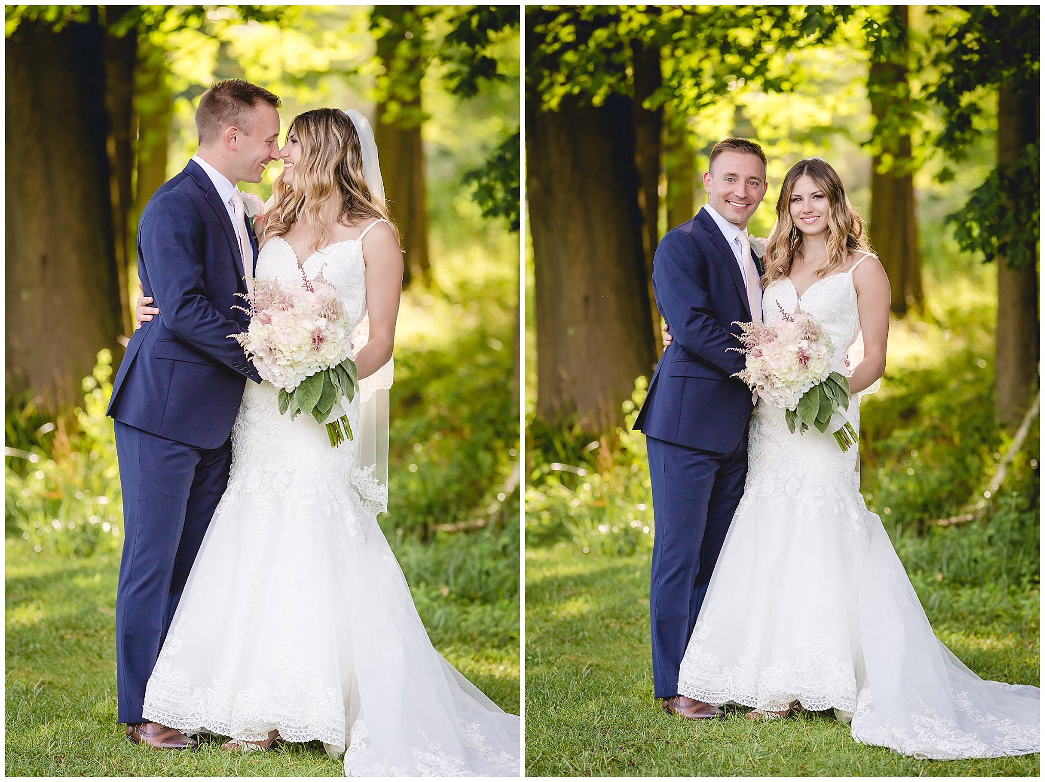 Sunkissed portraits of the bride and groom at Hidden Valley Resort