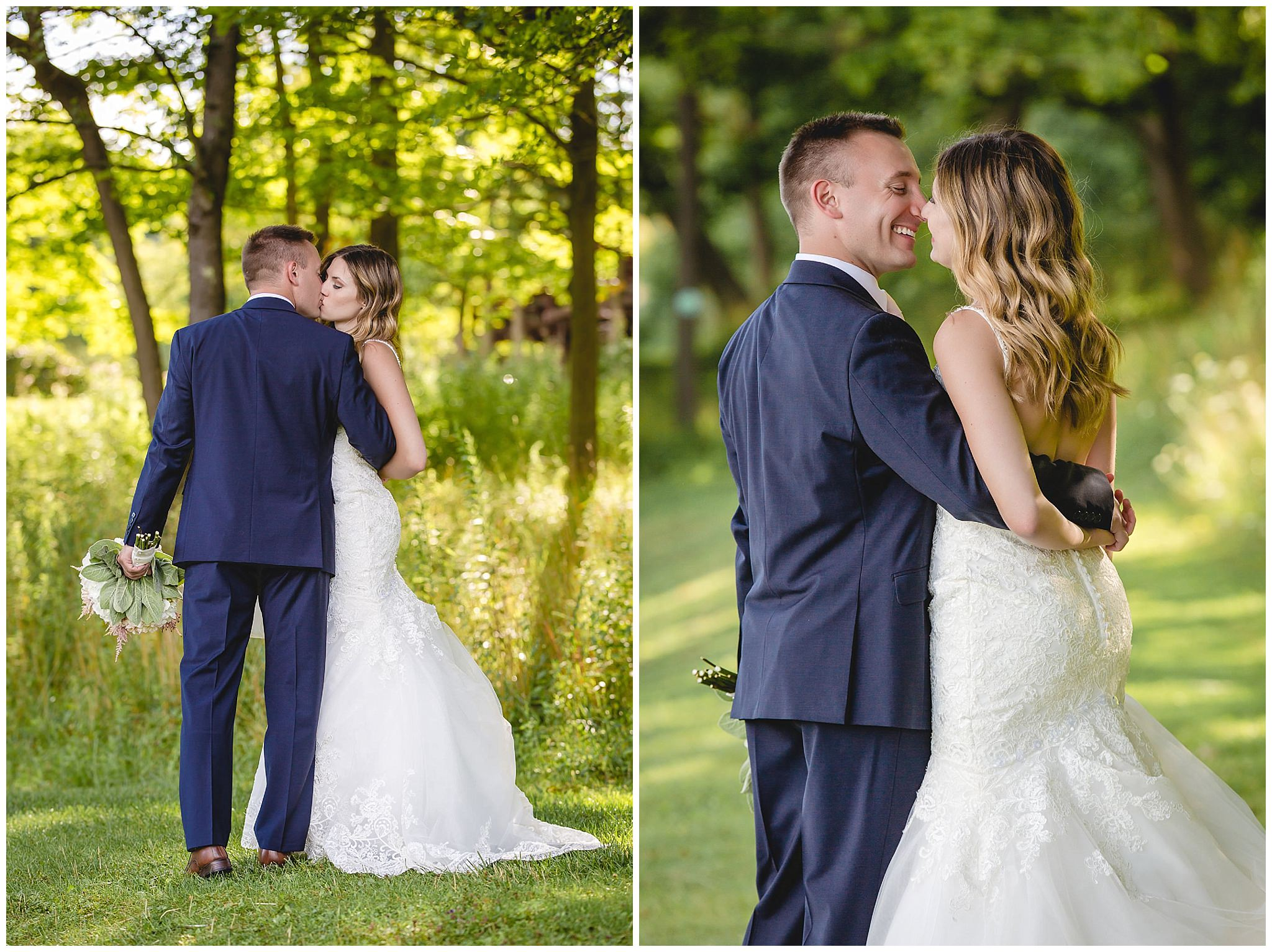 Bride and groom share a moment at Hidden Valley Resort