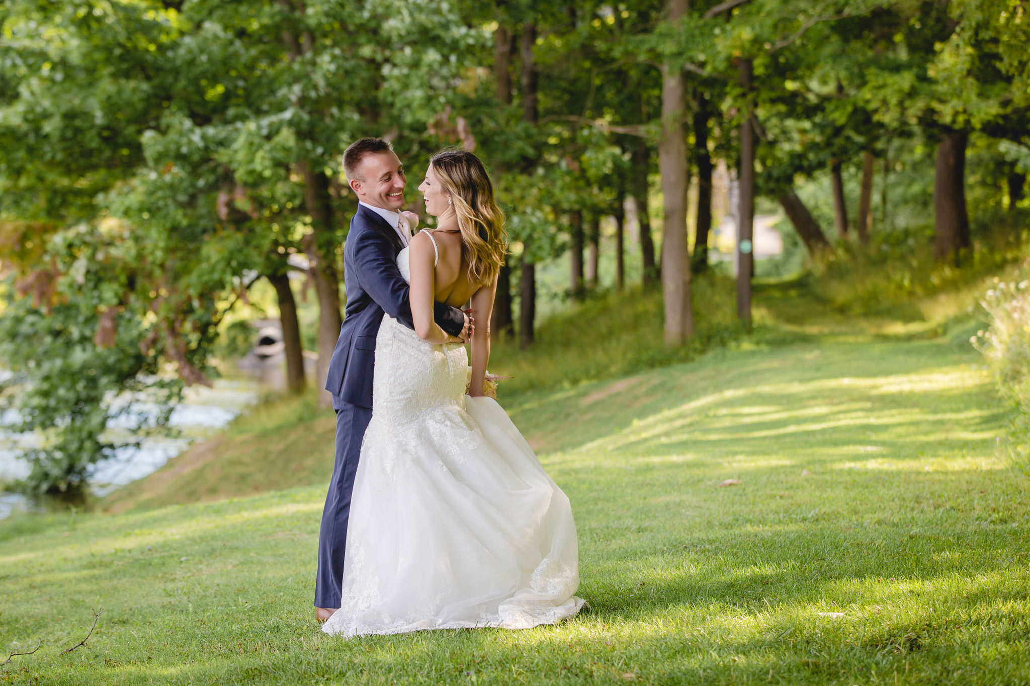 Bride and groom laughing at Hidden Valley Resort