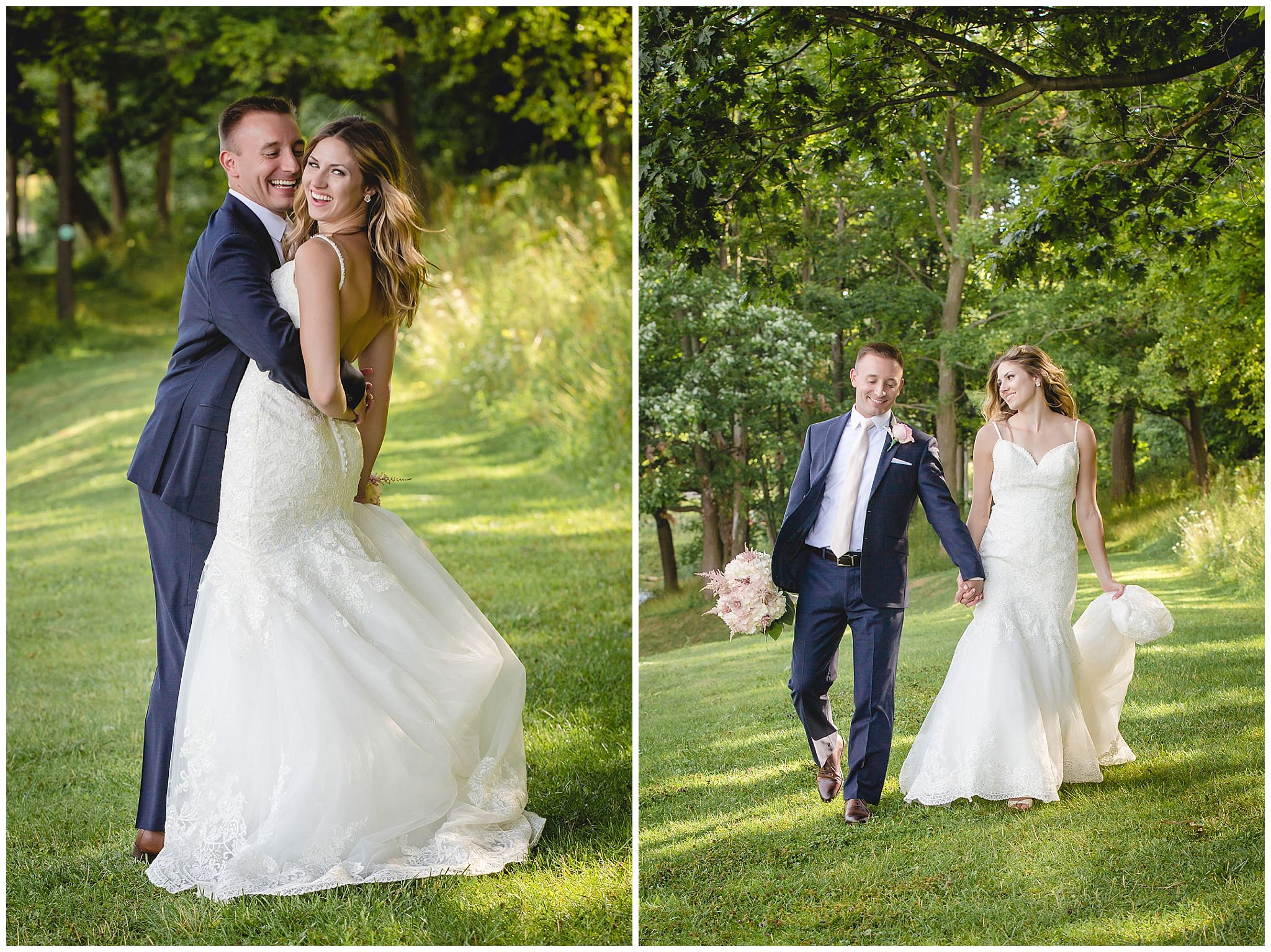 Bride and groom laugh and walk playfully after their wedding ceremony