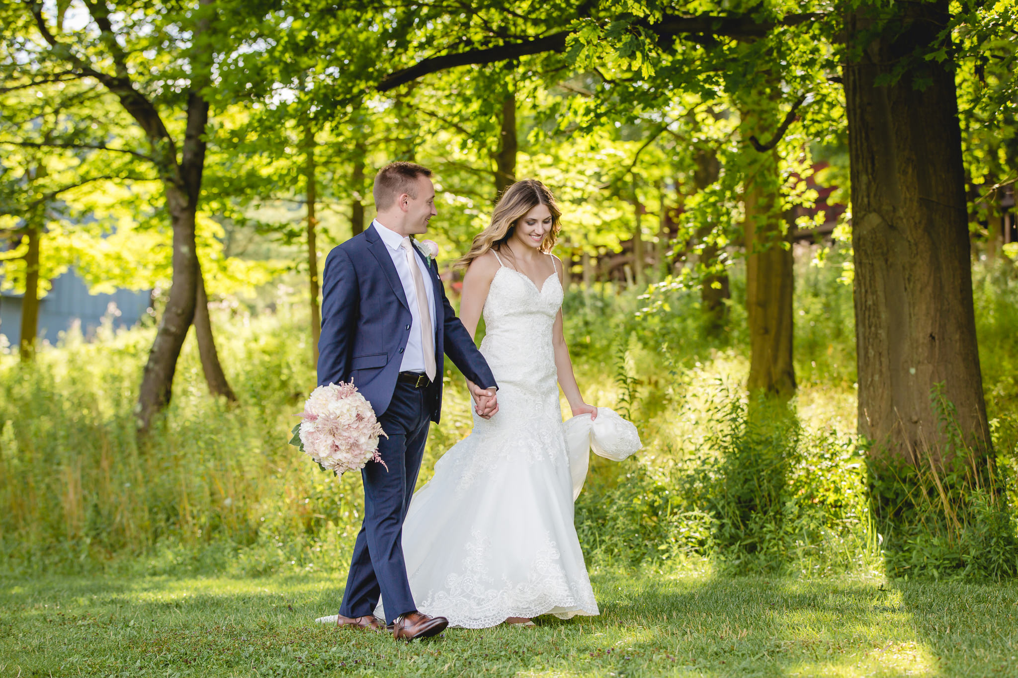 Bride and groom go for a walk after their Hidden Valley Resort wedding